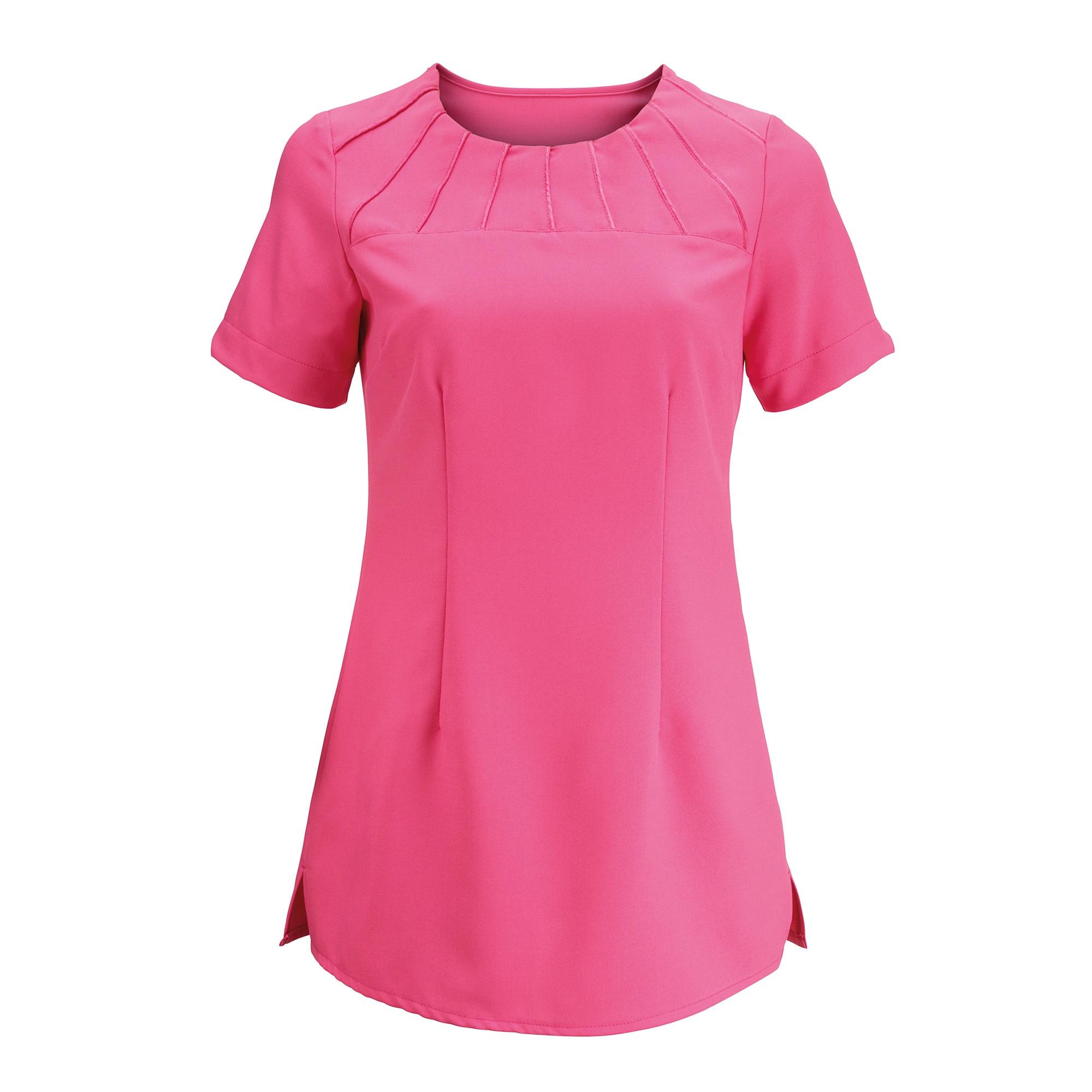 Alexandra Womens Satin Trim Tunic / Health Beauty & Spa / Workwear (Pack of 2) (18) (Hot Pink)