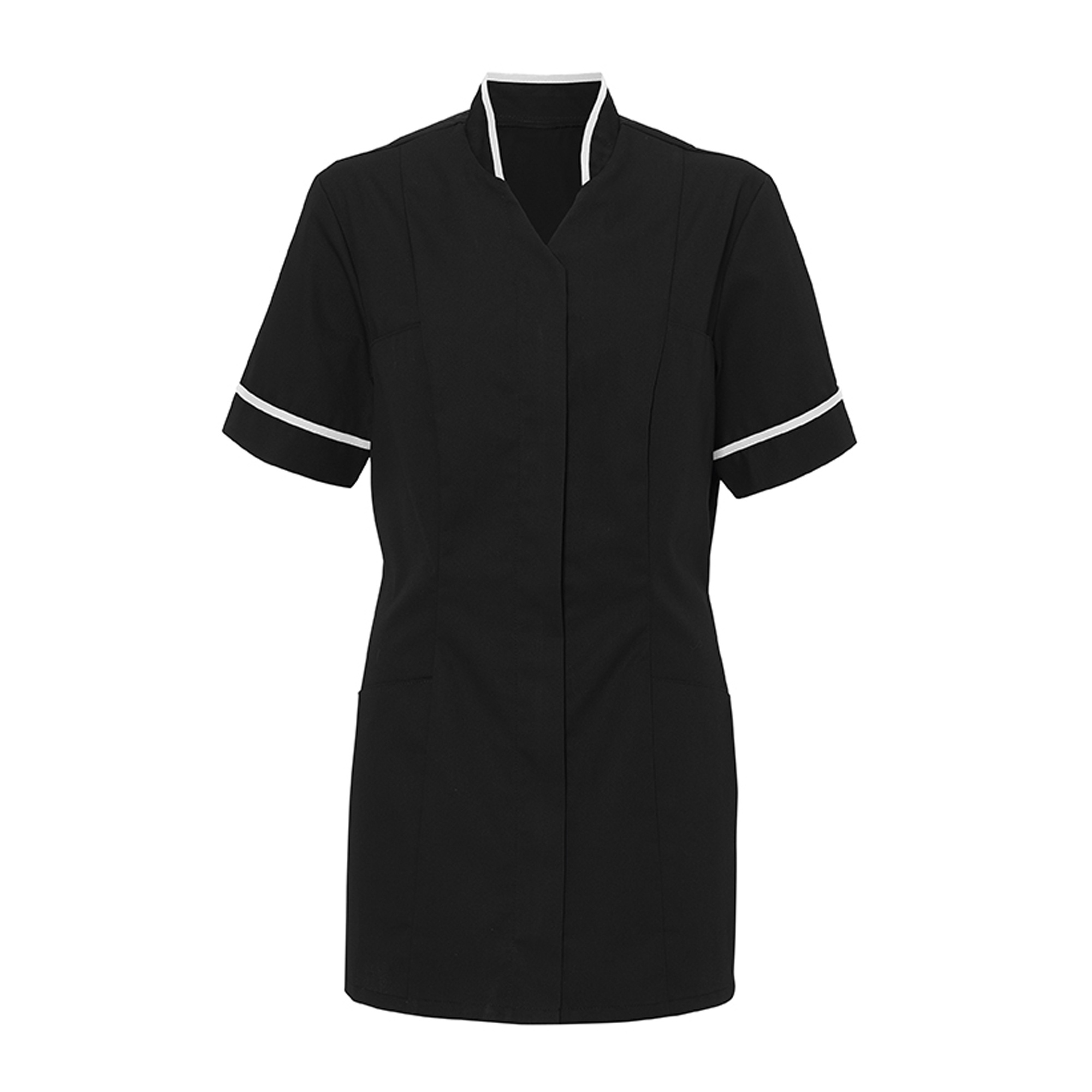 Alexandra Womens Mandarin Collar Tunic / Health Beauty / Medical Workwear (Pack of 2) (10) (Black/ White)