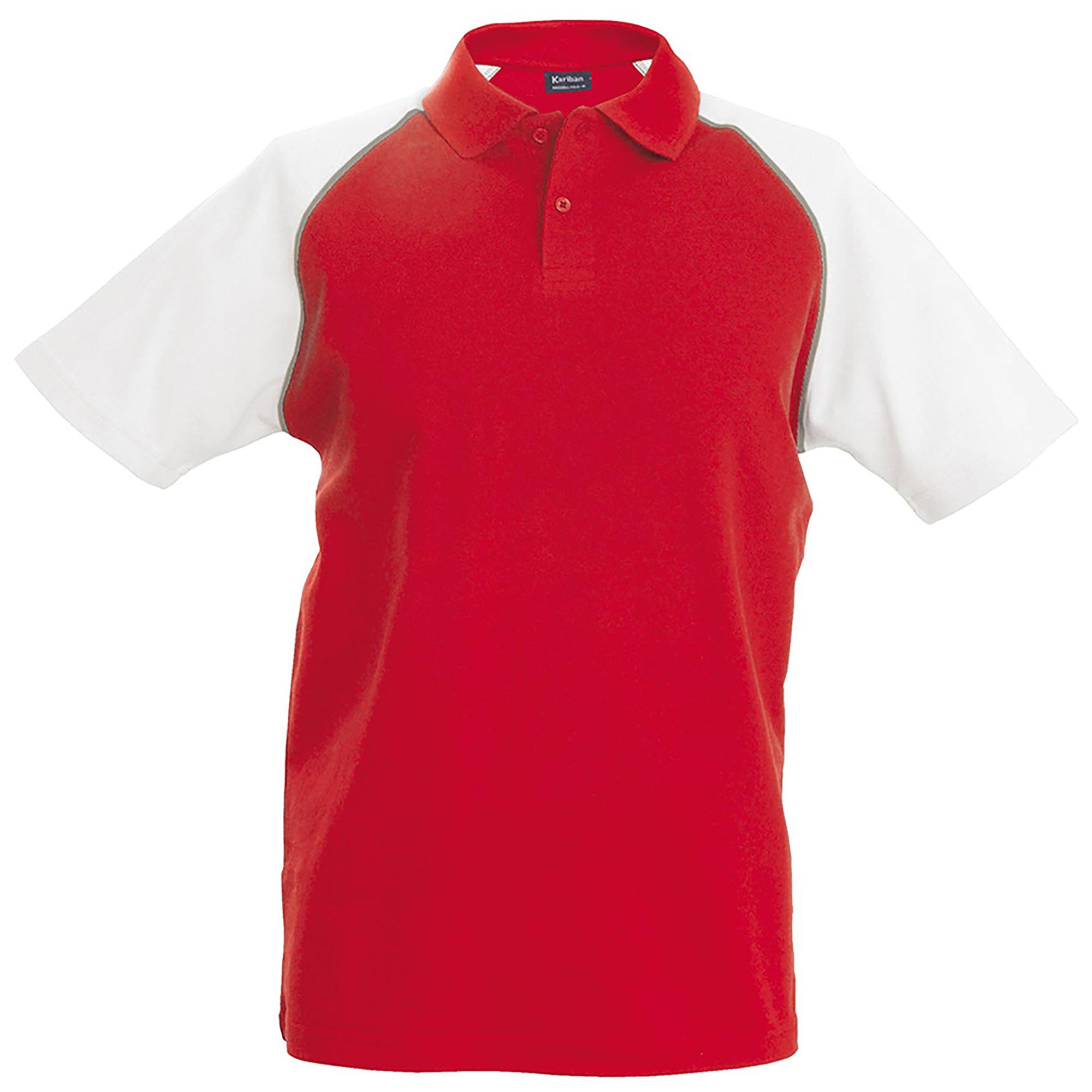 Kariban Mens Contrast Baseball Polo Shirt (XL) (Red/Light Grey/White)