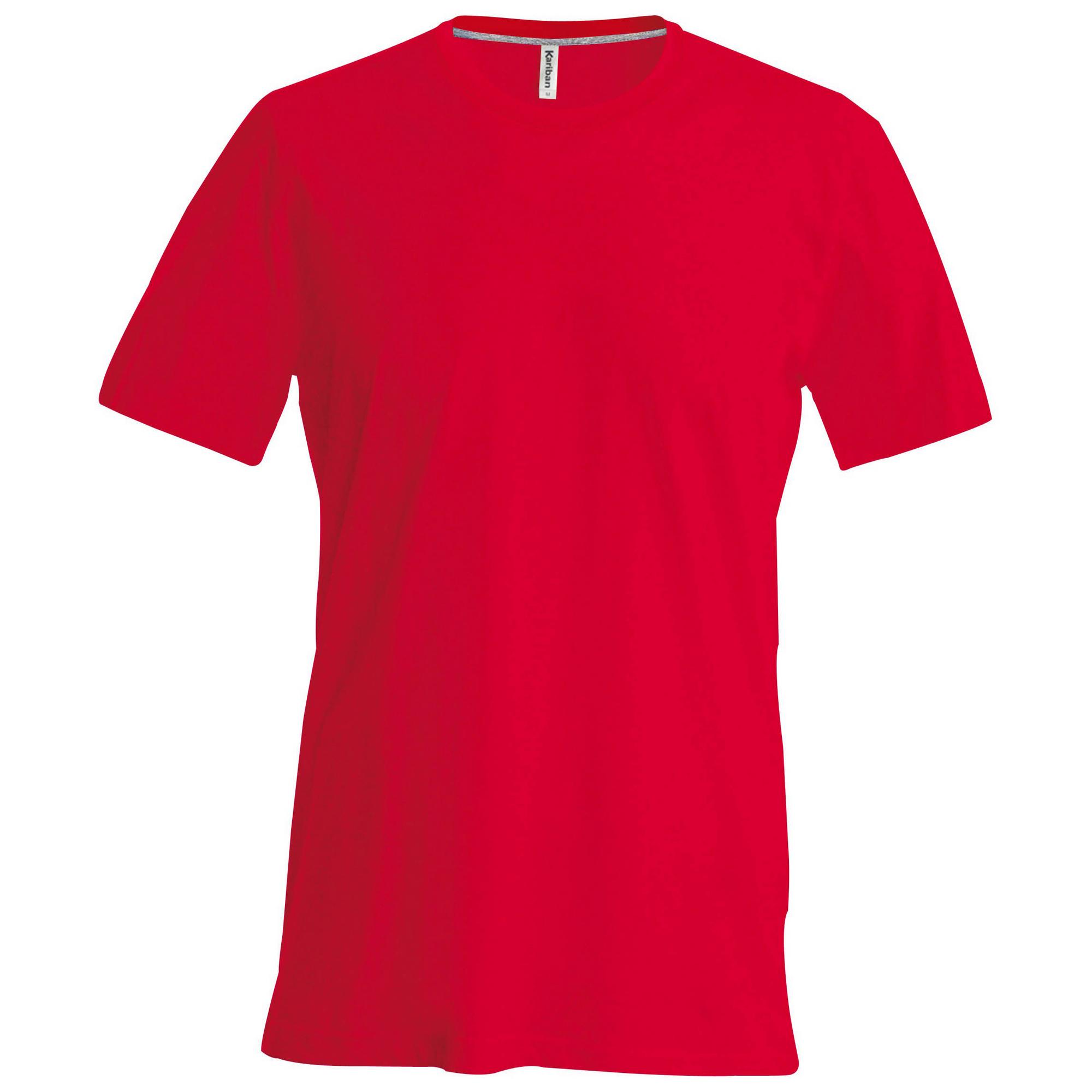 Kariban Mens Slim Fit Short Sleeve Crew Neck T-Shirt (XL) (Red)