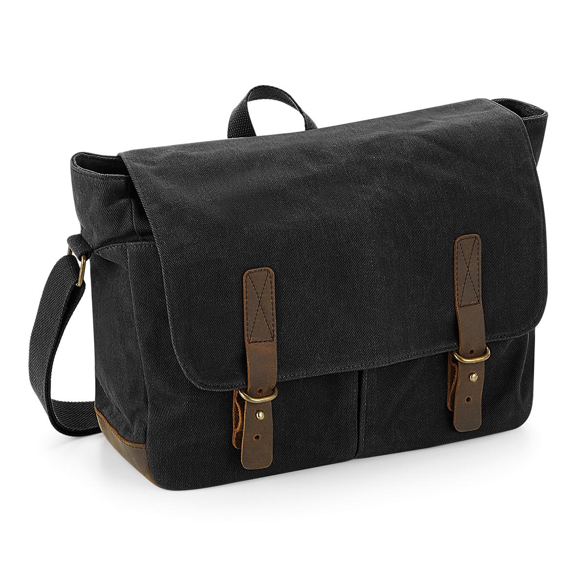 Quadra Heritage Waxed Canvas Messenger Bag (One Size) (Black)