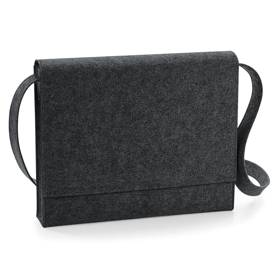 BagBase Felt Messenger Bag (One Size) (Charcoal Melange)