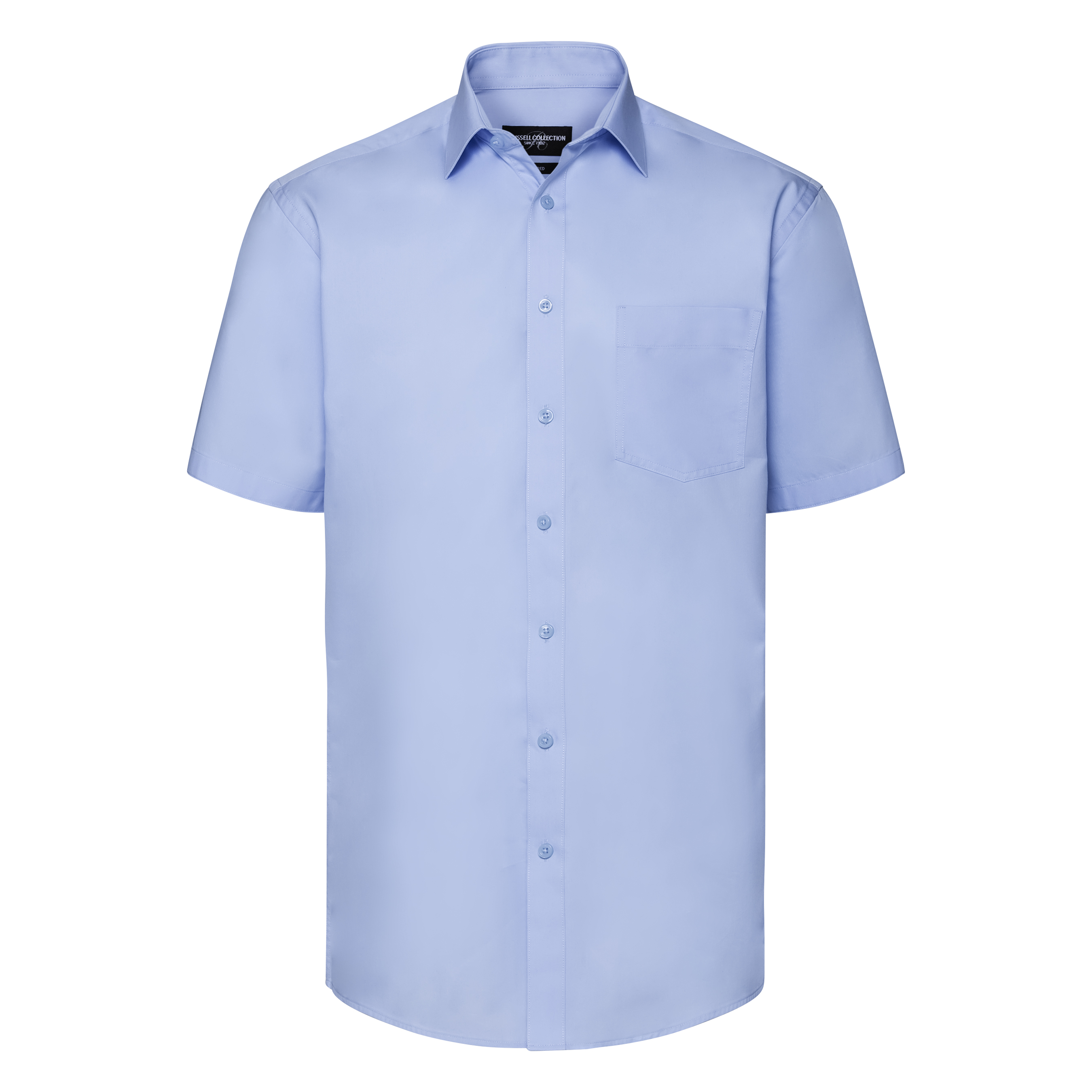 Russell Collection Mens Short Sleeve Tailored Coolmax Shirt (M) (Light Blue)