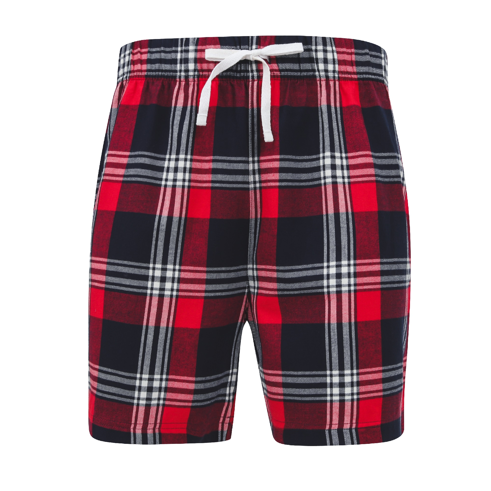 Skinni Fit Mens Tartan Lounge Shorts (S) (Red/Navy Check)