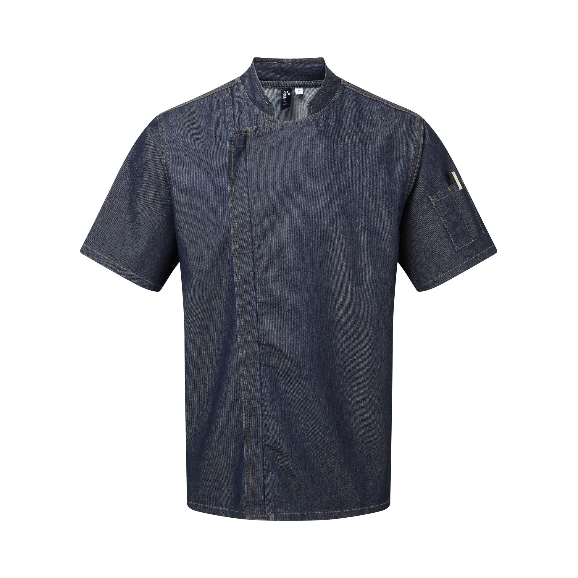 Premier Unisex Adults Chefs Zip-Close Short Sleeve Jacket (XL) (Indigo Denim)