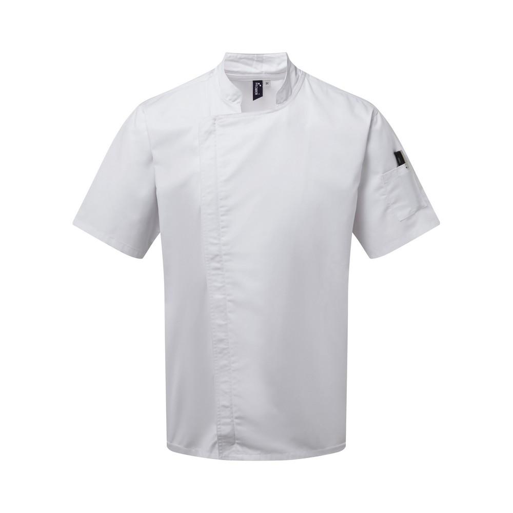 Premier Unisex Adults Chefs Zip-Close Short Sleeve Jacket (XS) (White)