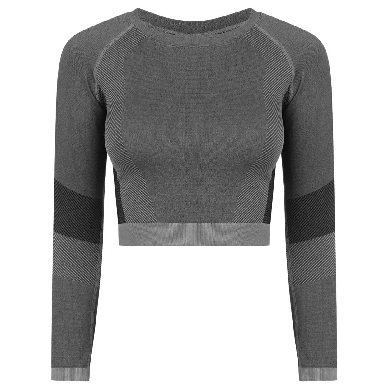 Tombo Womens/Ladies Seamless Panelled Long Sleeve Crop Top (XXL/3XL) (Light Grey/Black)