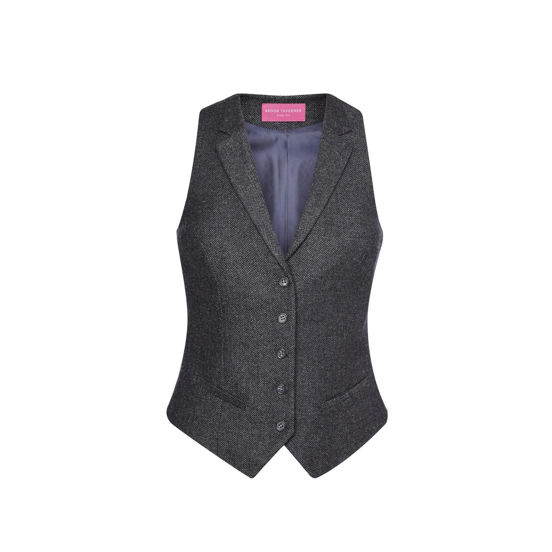 Brook Taverner Womens/Ladies Nashville Tweed Waistcoat (L) (Charcoal Herringbone)