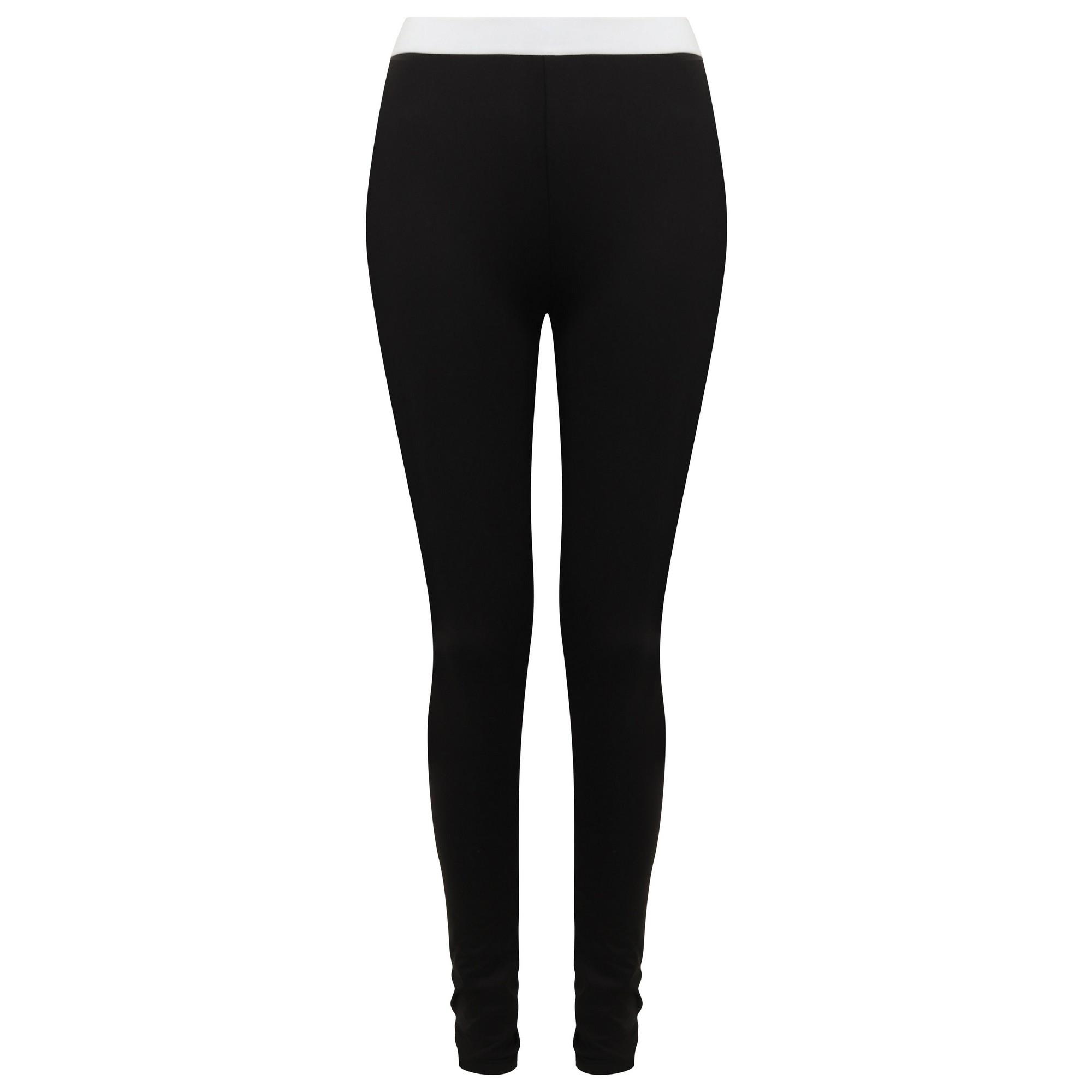 SF Womens/Ladies Fashion Leggings (S) (Black/White)
