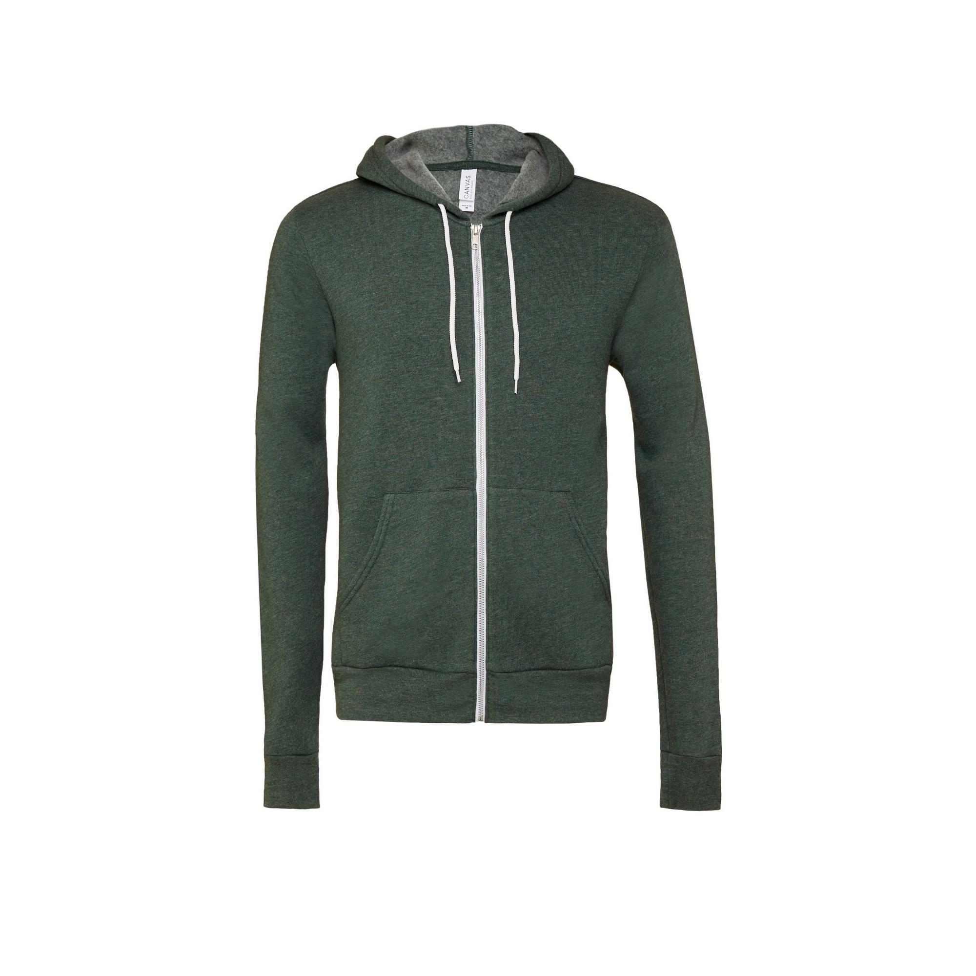 Bella + Canvas Unisex Adult Fleece Full Zip Hoodie (XS) (Forest Green Heather)