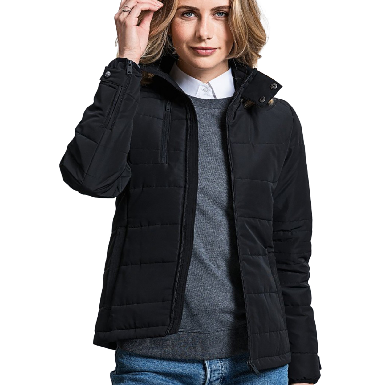 Russell Womens/Ladies Cross Padded Jacket (XXL) (French Navy)