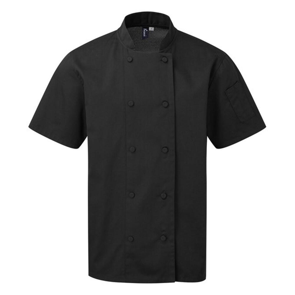 Premier Mens Coolchecker Short-Sleeved Chef Jacket (XXL) (Black)