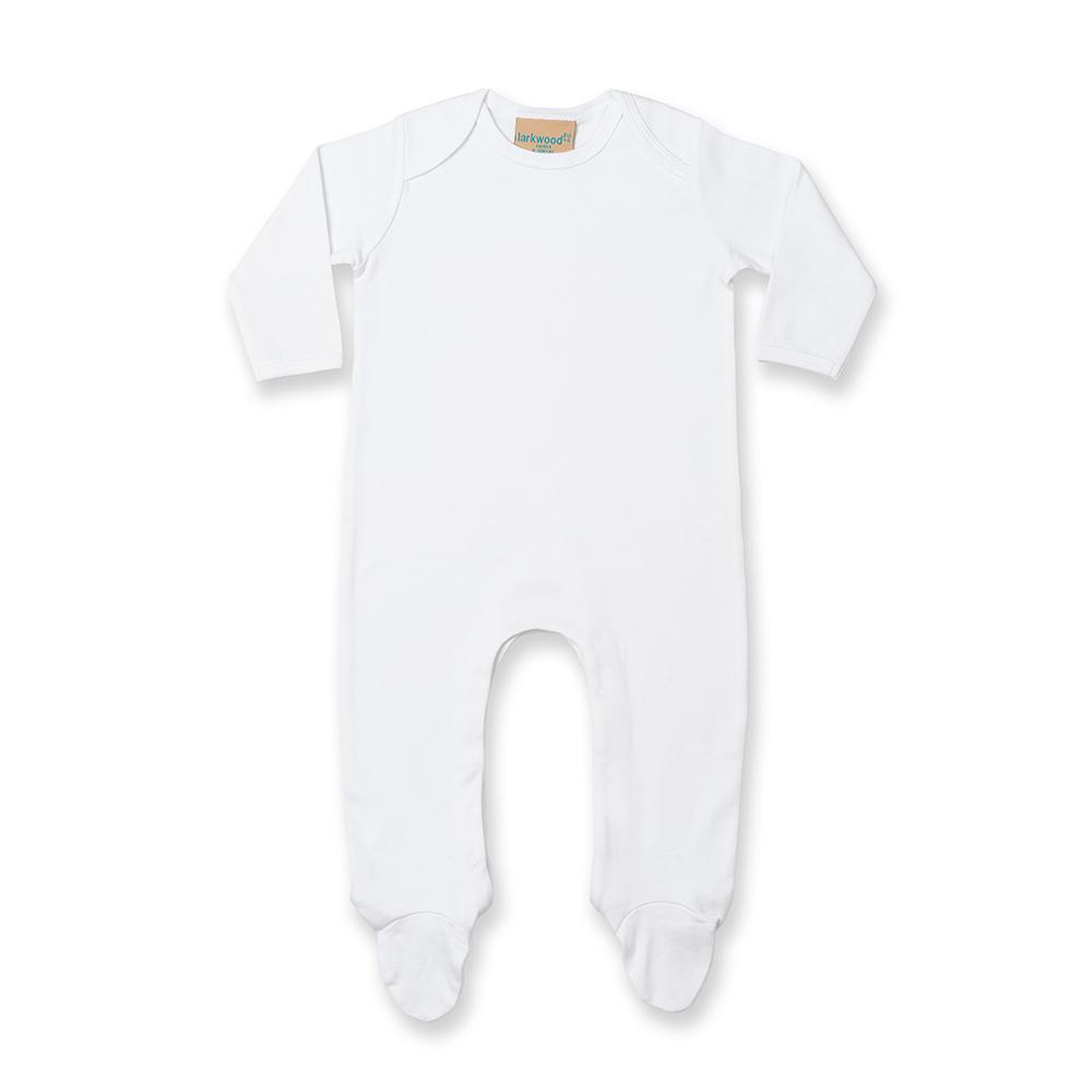 Larkwood Baby Unisex Contrast Long Sleeve Sleep Suit (3) (White/White)