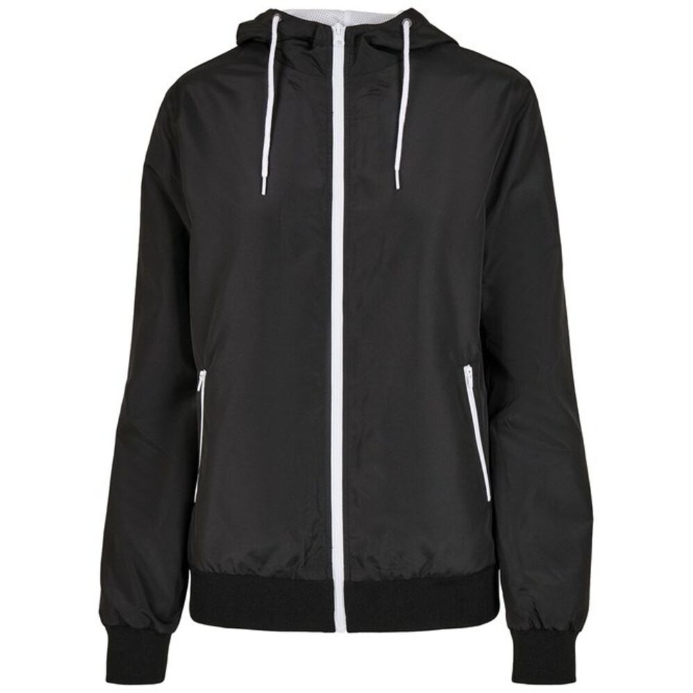 Build Your Brand Womens/Ladies Windrunner Recycled Jacket (L) (Black/White)