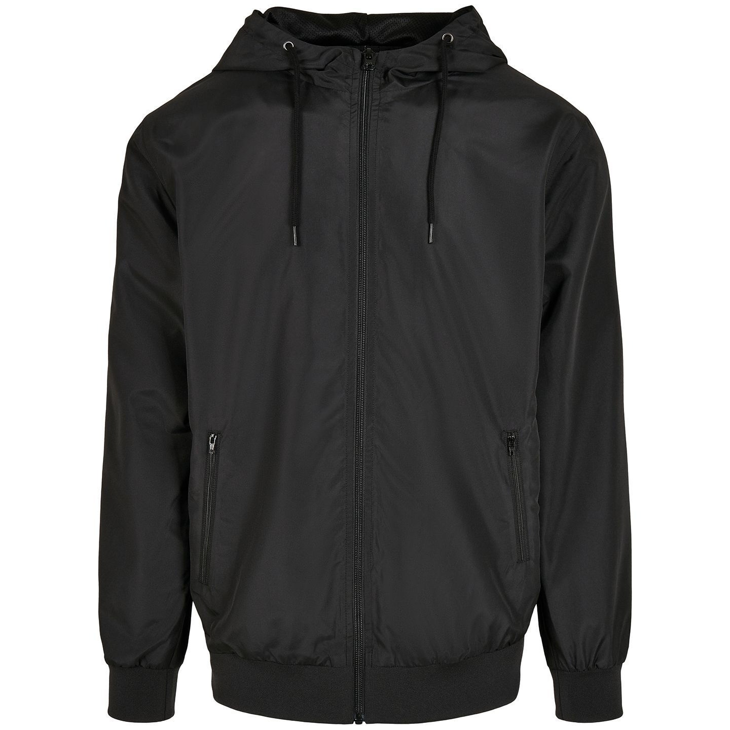Build Your Brand Mens Windrunner Recycled Jacket (3XL) (Black)