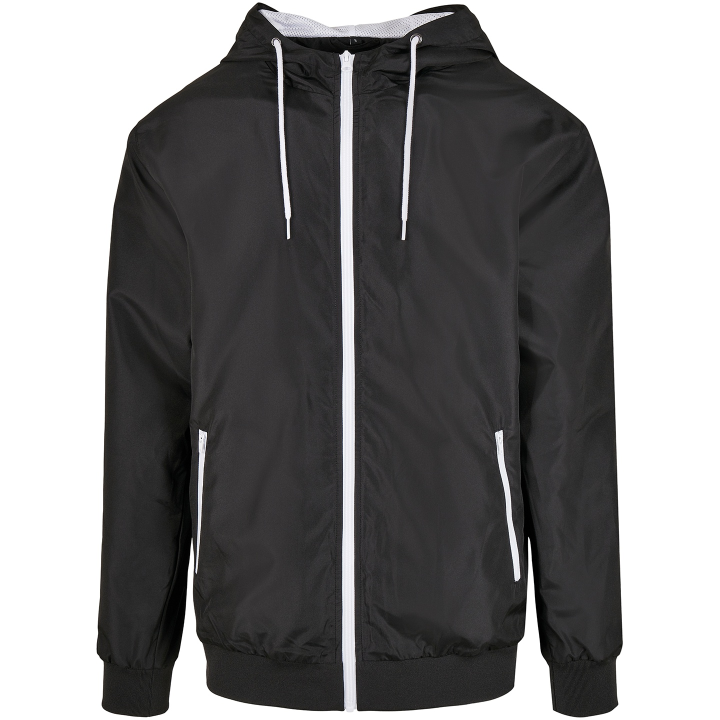 Build Your Brand Mens Windrunner Recycled Jacket (4XL) (Black/White)