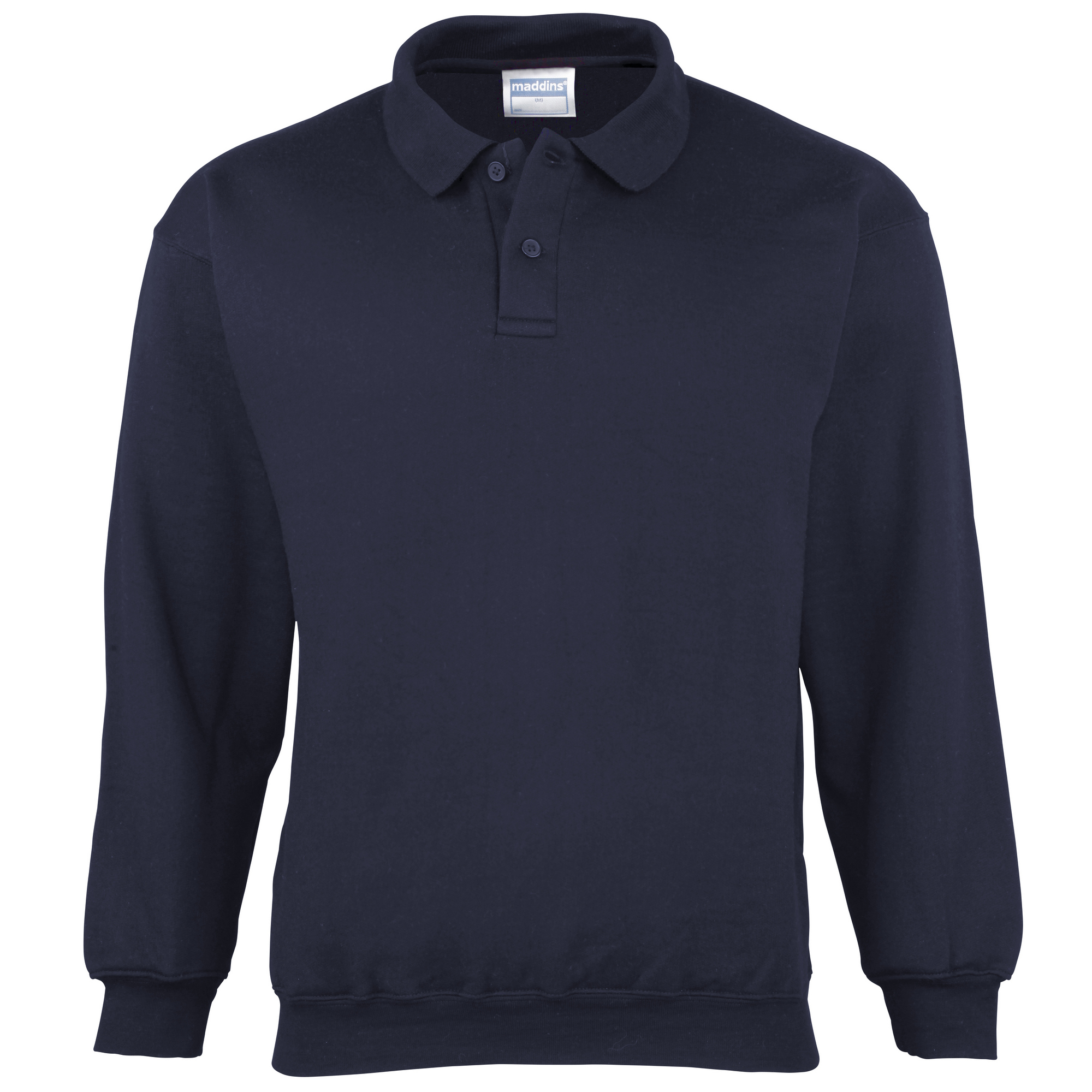 Maddins Mens Coloursure Polo Pisquet Sweatshirt Top (M) (Navy)
