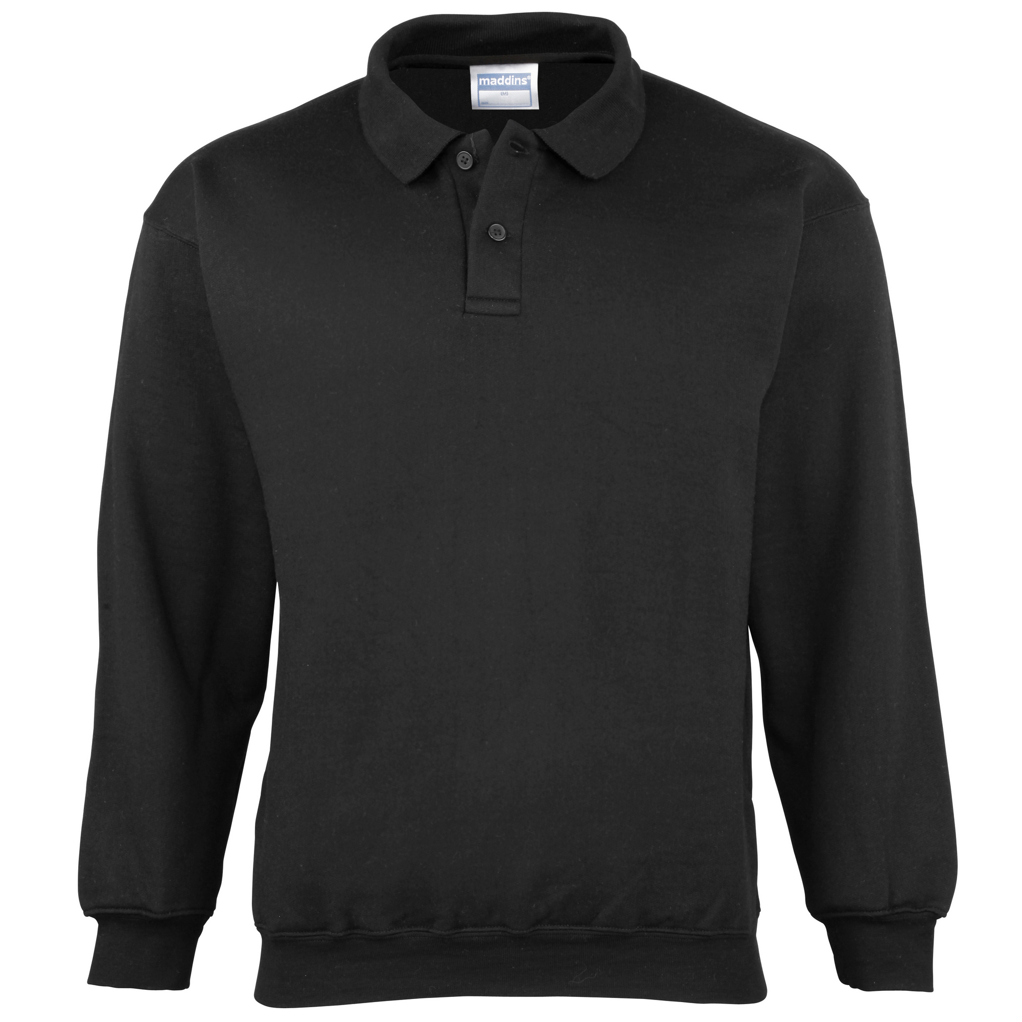 Maddins Mens Coloursure Polo Pisquet Sweatshirt Top (M) (Black)