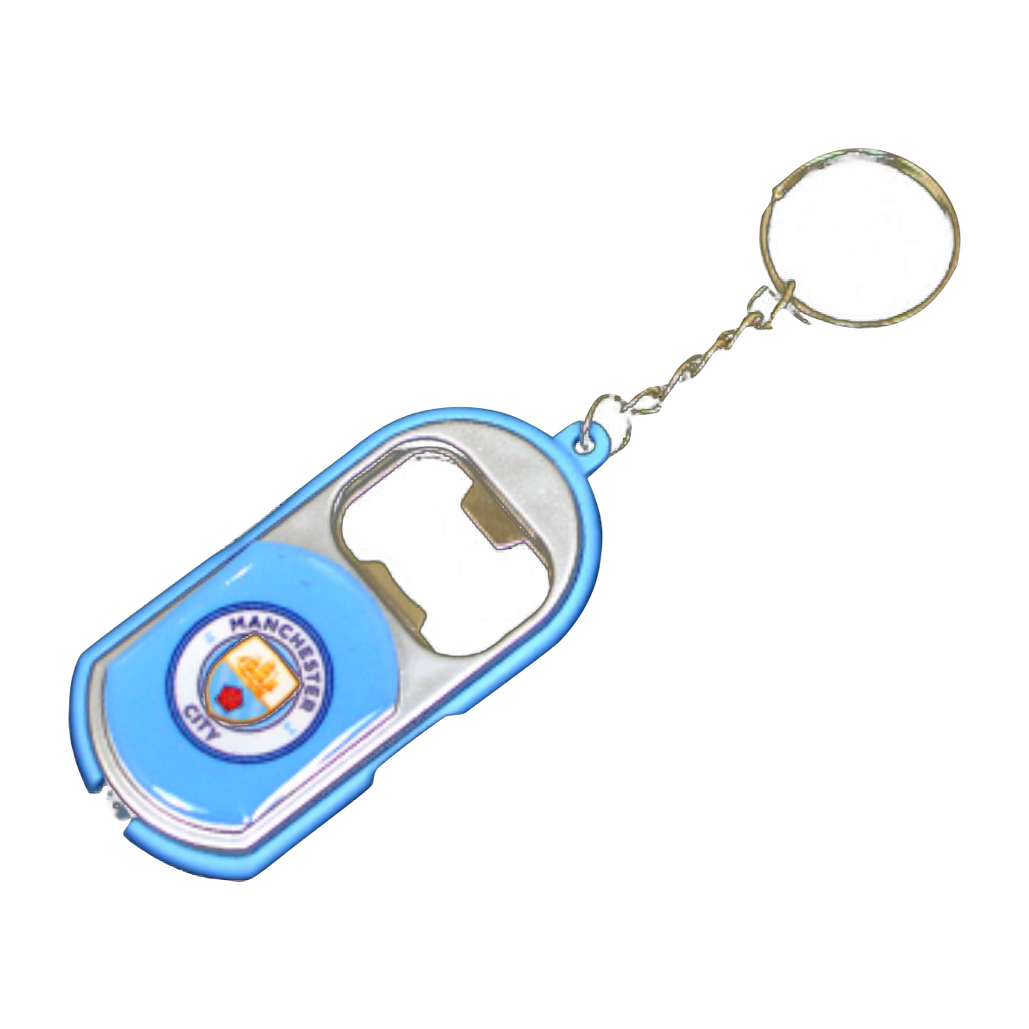 Manchester City FC Official Crest Design Bottle Opener Keyring With Torch (One Size) (Sky Blue)