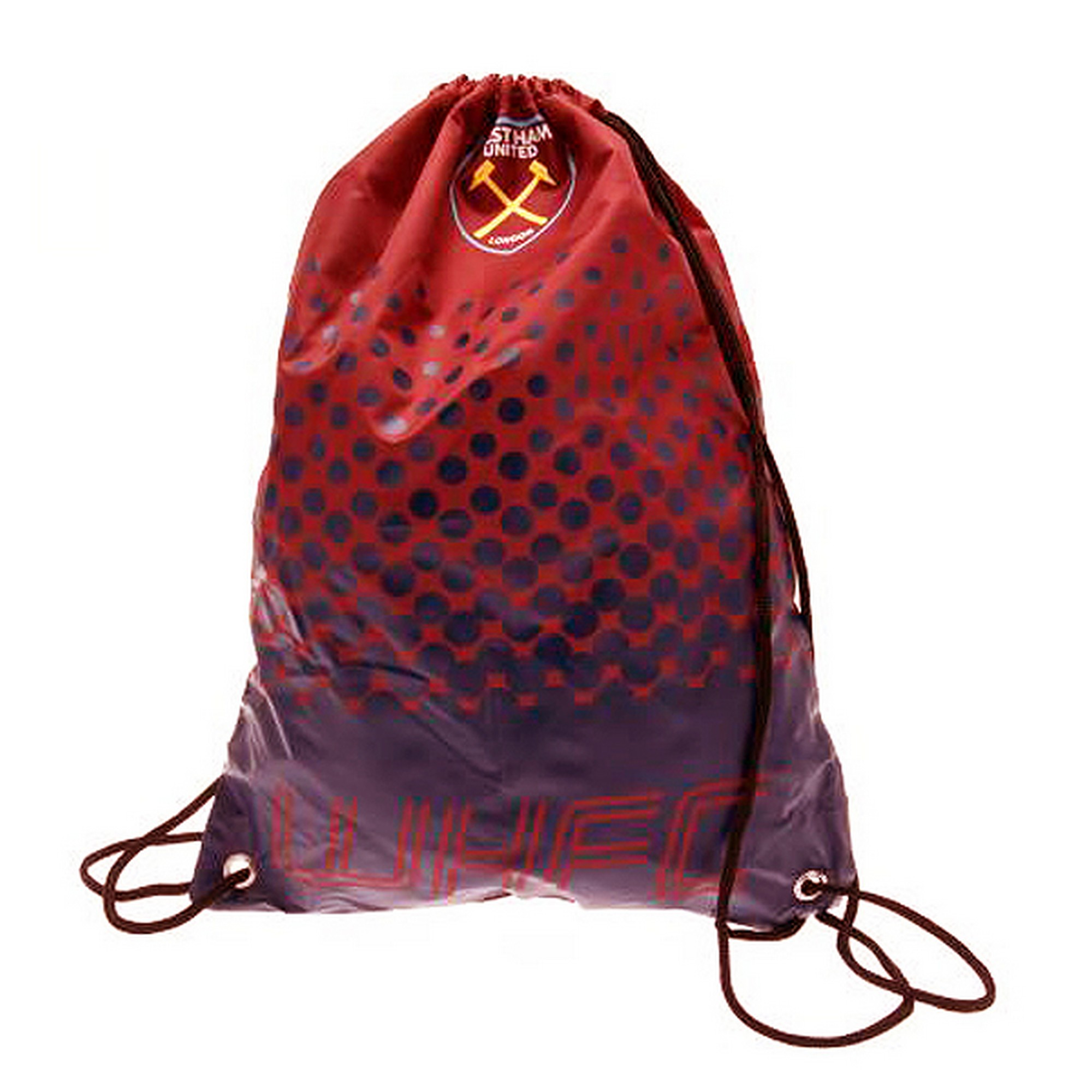 West Ham FC Official Fade Football Crest Drawstring Sports/Gym Bag (One Size) (Red)