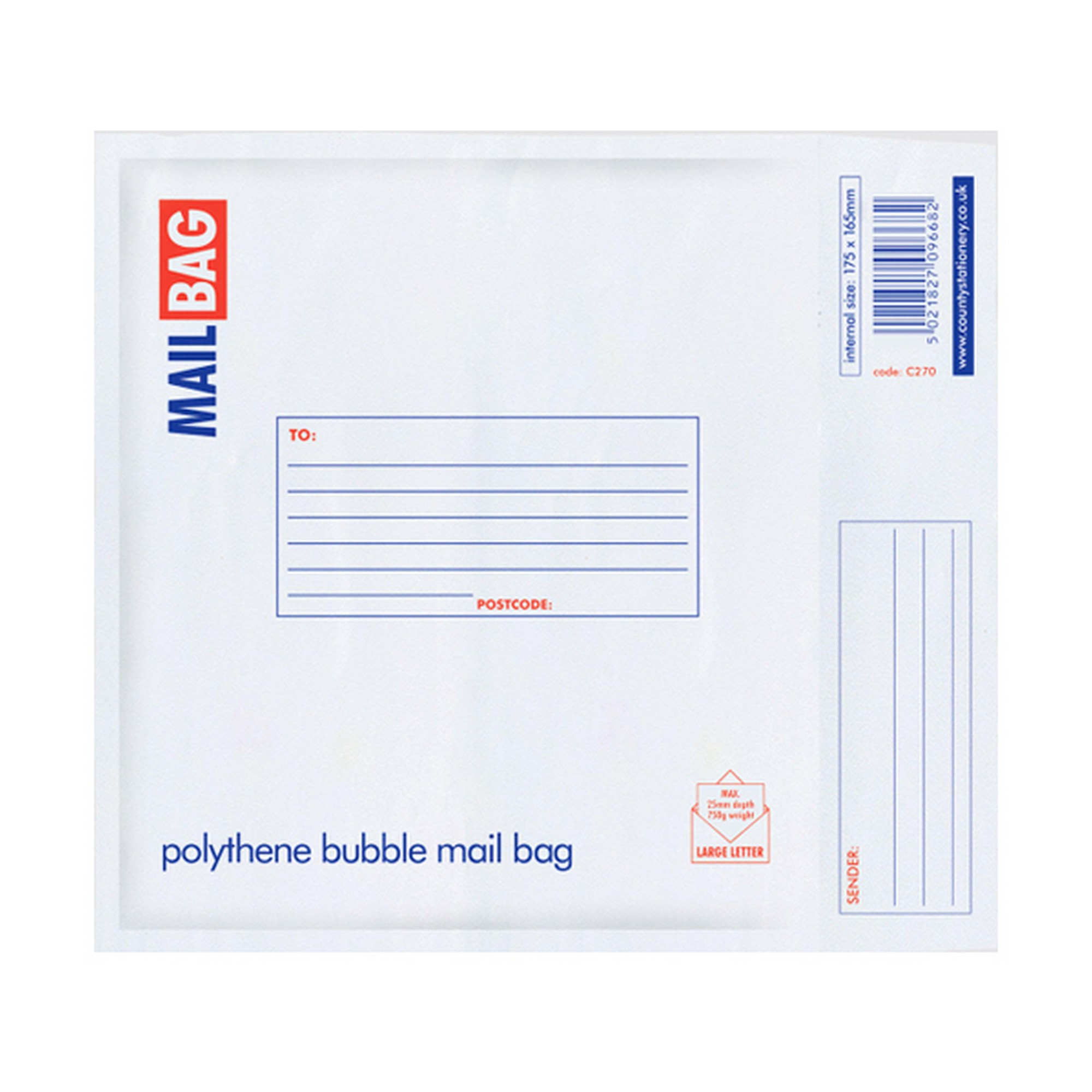 county stationery polythene bubble envelope mail bags pack of 10