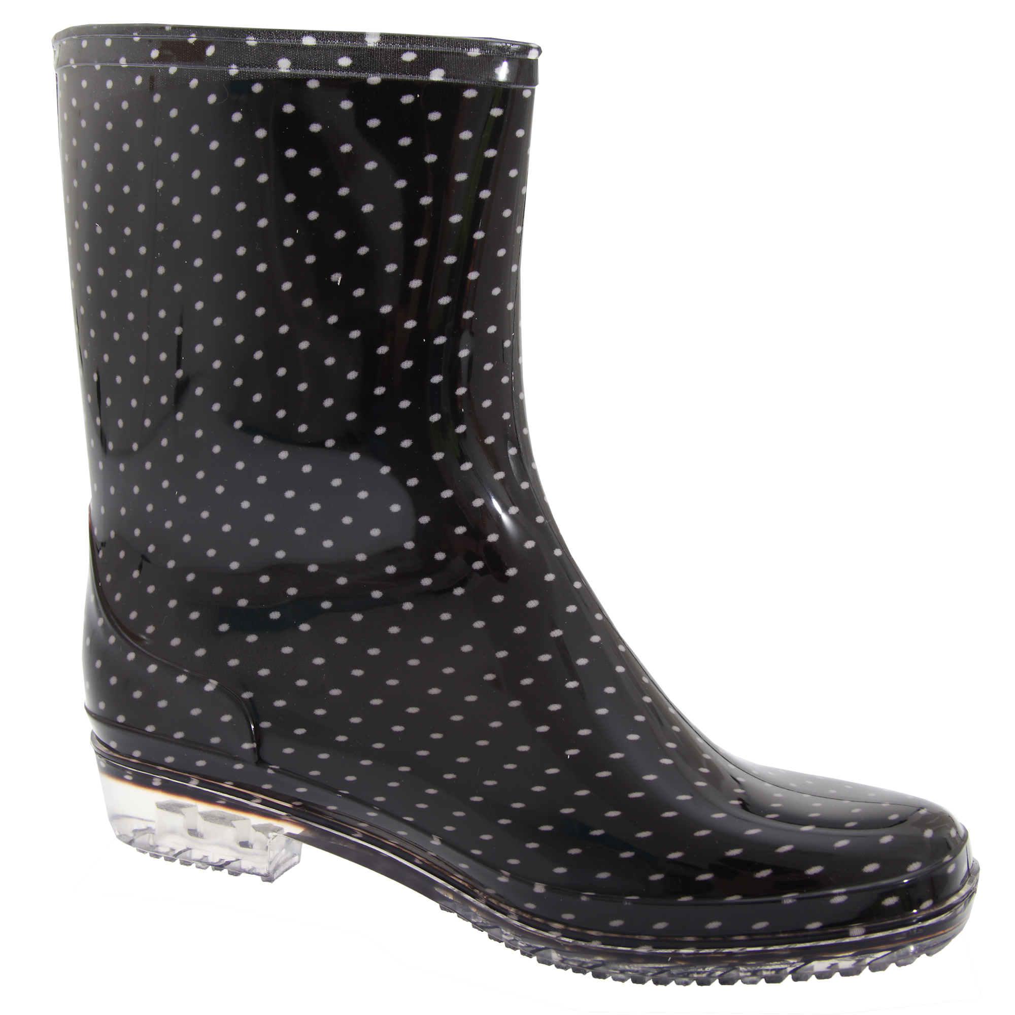 Womens-Ladies-Short-Monochrome-Polka-Dot-Print-PVC-Wellington-Boots-SH121