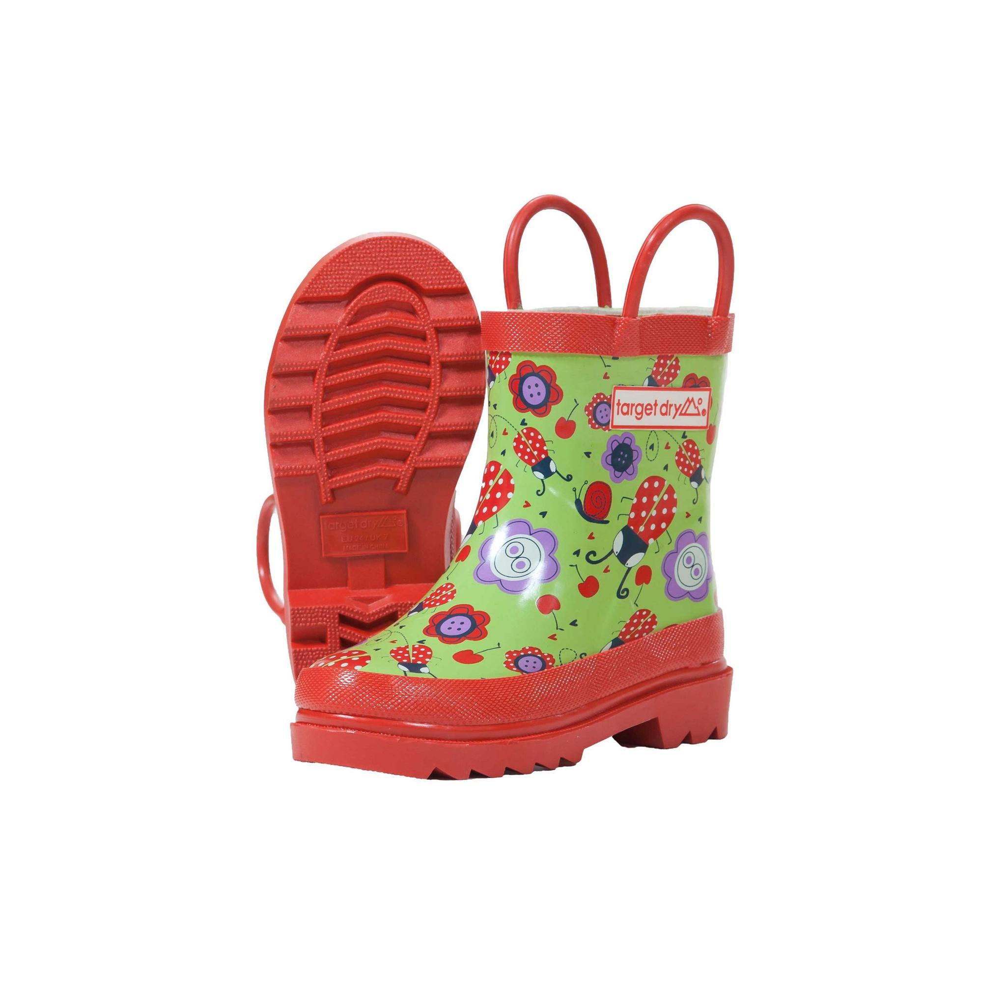 Target Dry Para Niños Niñas Botas Wellington Patrón Floral Ladybird