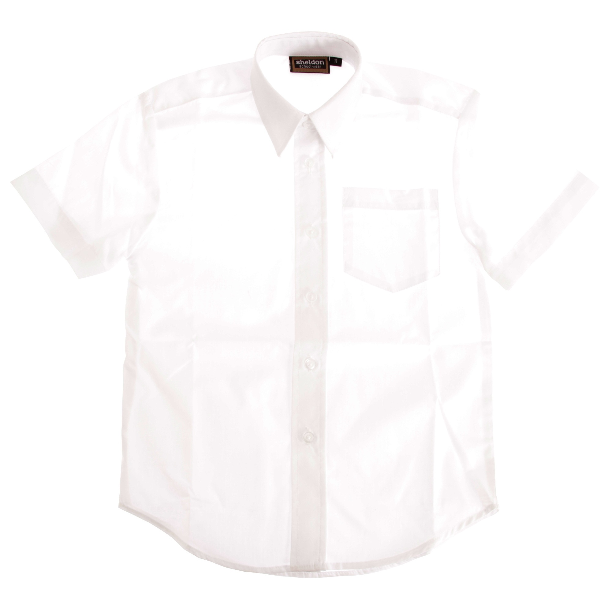 Boys Short Sleeved School Shirt (7-8 Years) (White)
