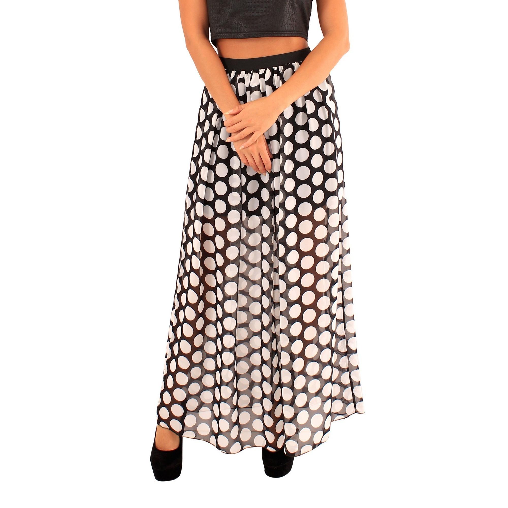 Lili London Womens/Ladies Mandy Polka Dot Maxi Skirt (S/M) (Black)