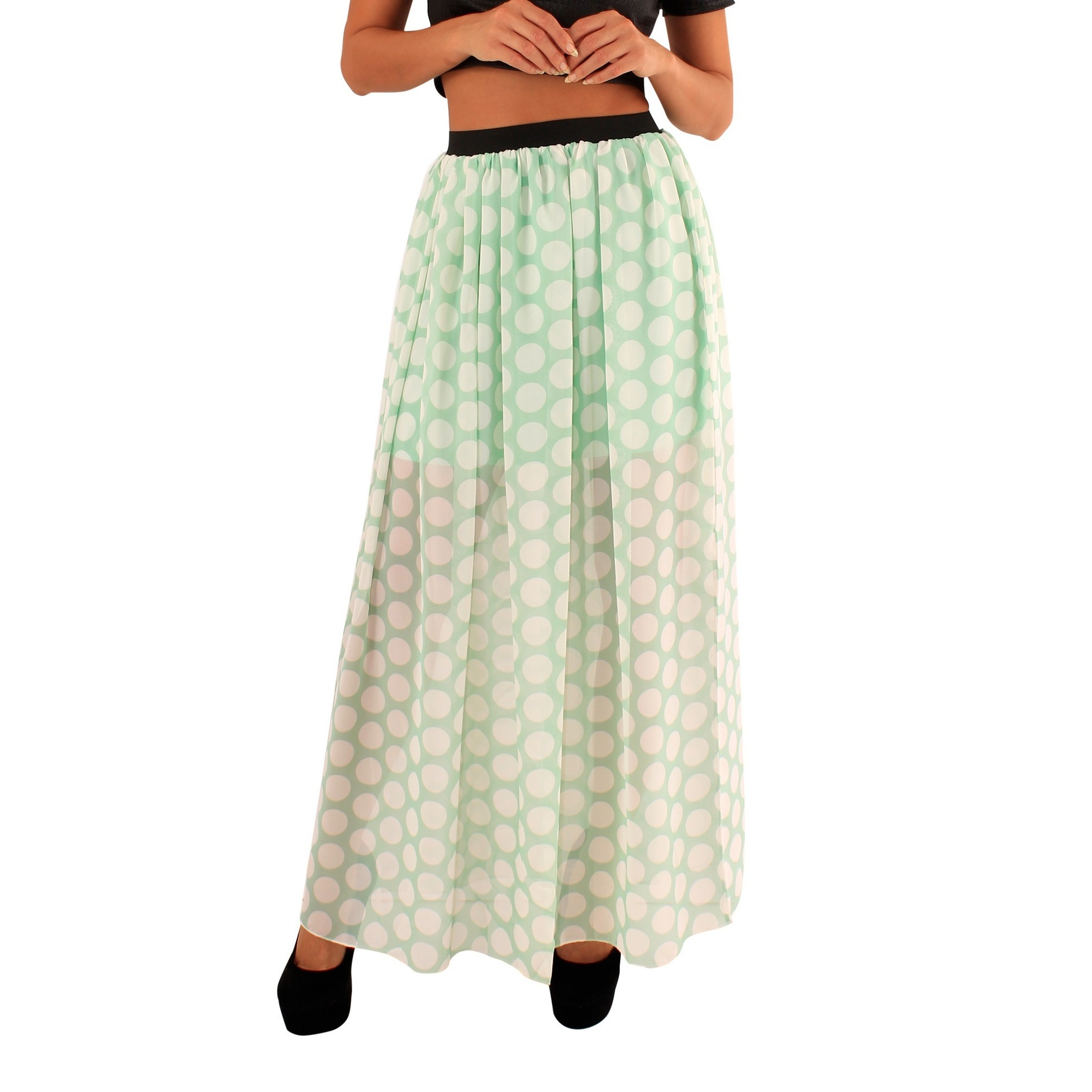 Lili London Womens/Ladies Mandy Polka Dot Maxi Skirt (S/M) (Mint Green)