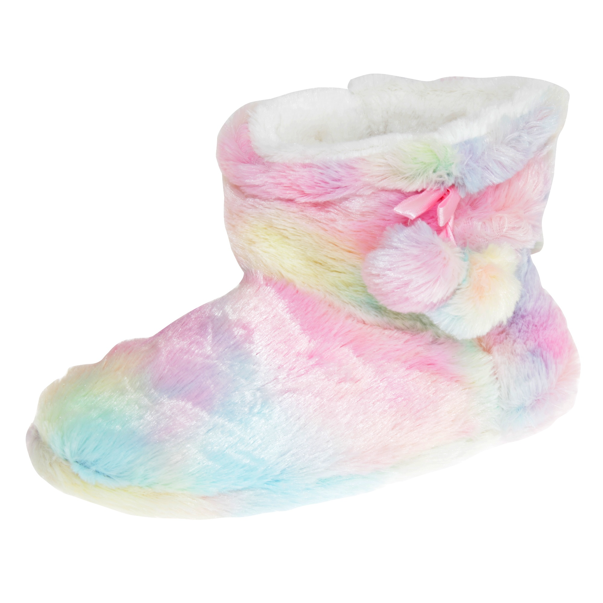 Ladies Rainbow Fluffy  Plush Bootee Slippers With Pom Pom
