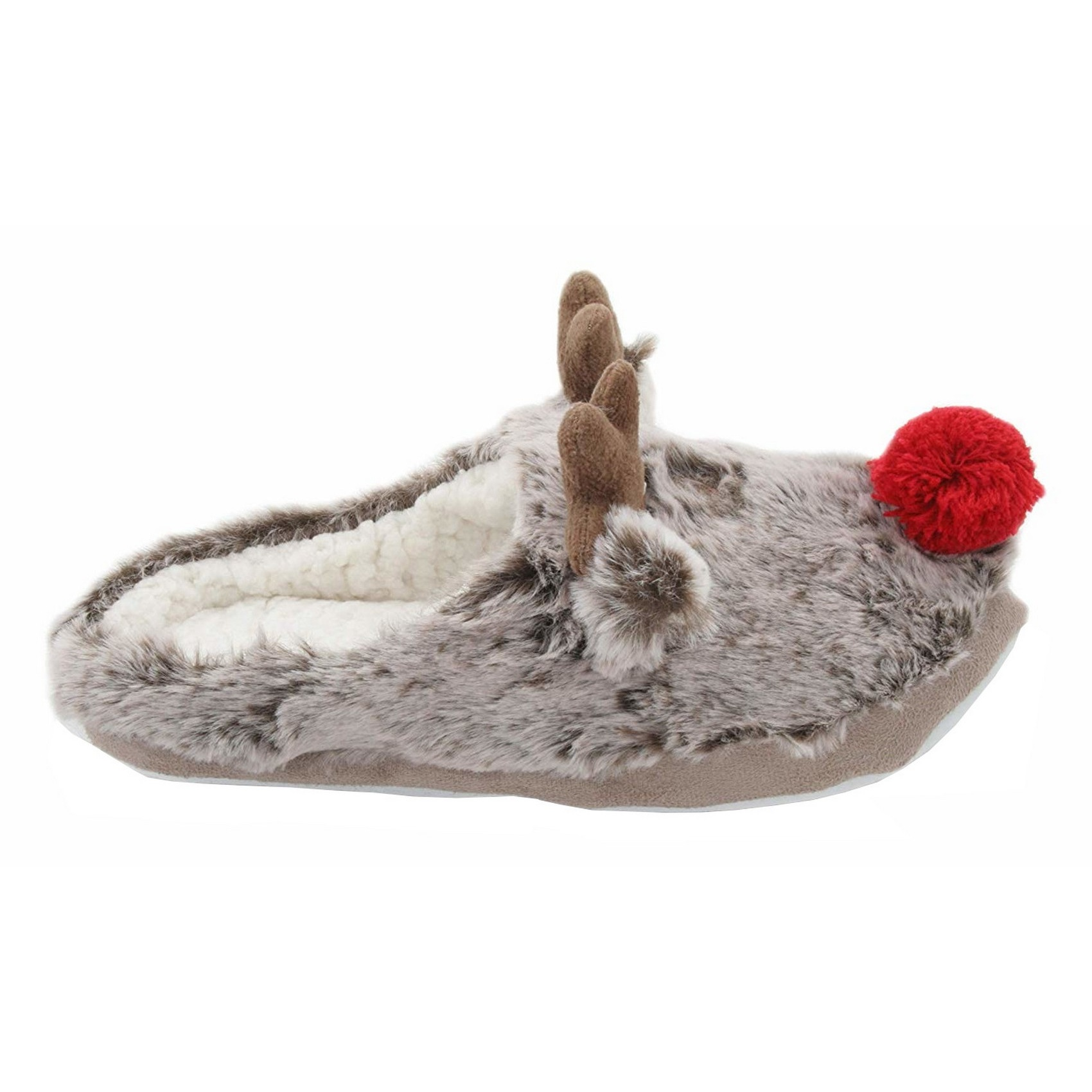 SlumberzzZ-Womens-Ladies-Fleece-Lined-Reindeer-Slippers-With-Rubber-SL687 thumbnail 4