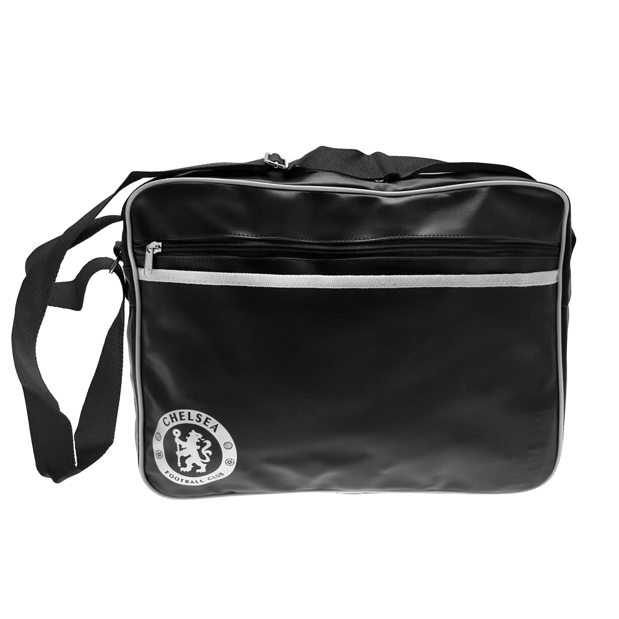 Chelsea FC Touch Fastening Messenger Bag (40 x 28 x 9cm) (Black/White)
