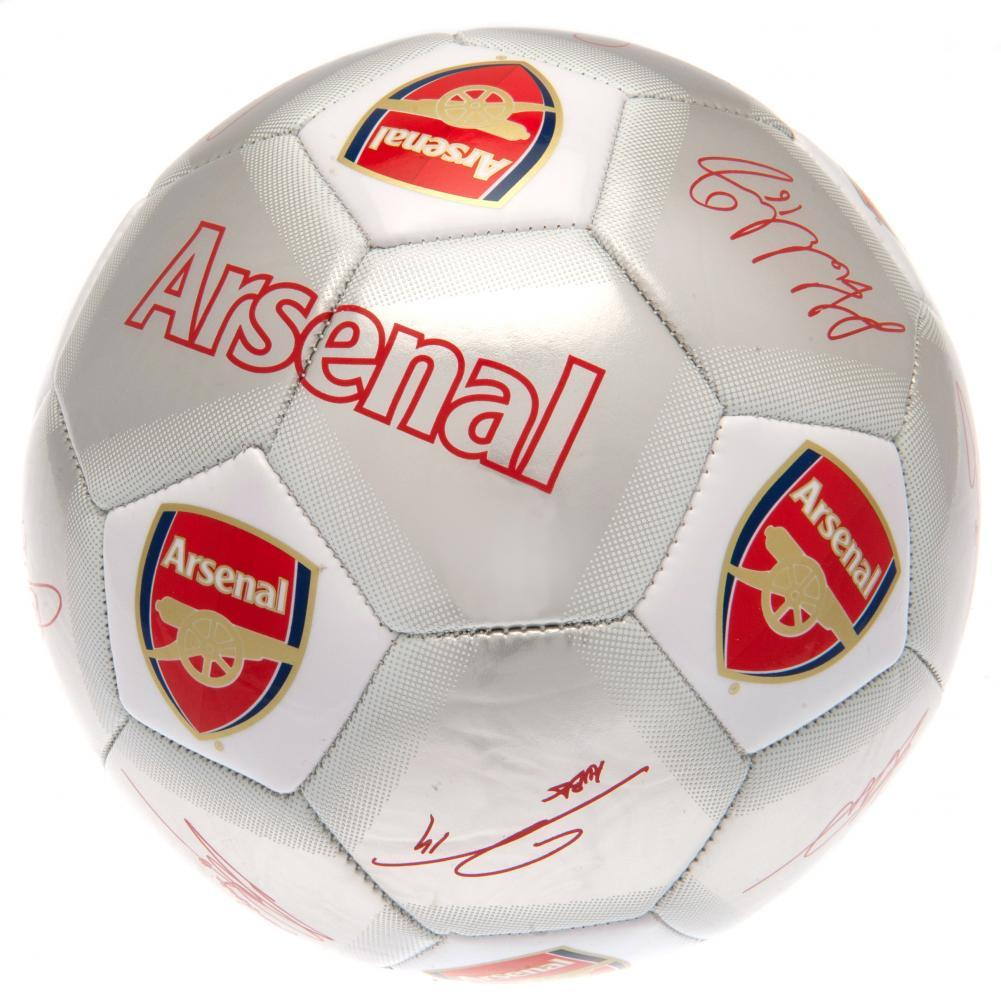 Arsenal FC Printed Players Signatures Signed Football (One Size) (Silver)