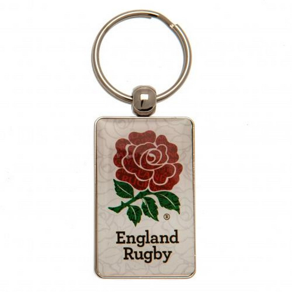 England Rugby Rose Metal Keyring (One Size) (White/Red)