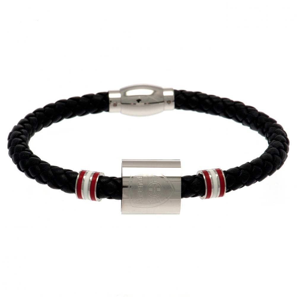 Arsenal FC Colour Ring Leather Bracelet (One Size) (Black)