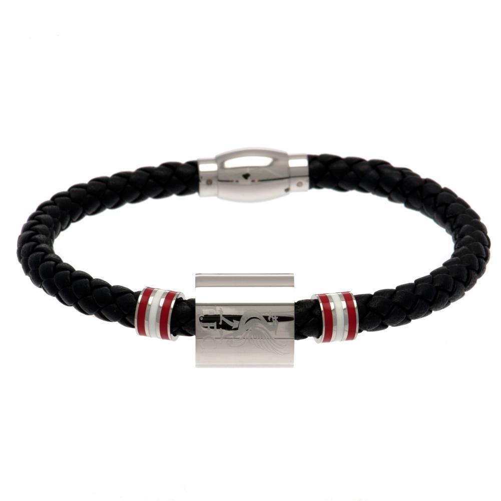 Liverpool FC Colour Ring Leather Bracelet (One Size) (Black)
