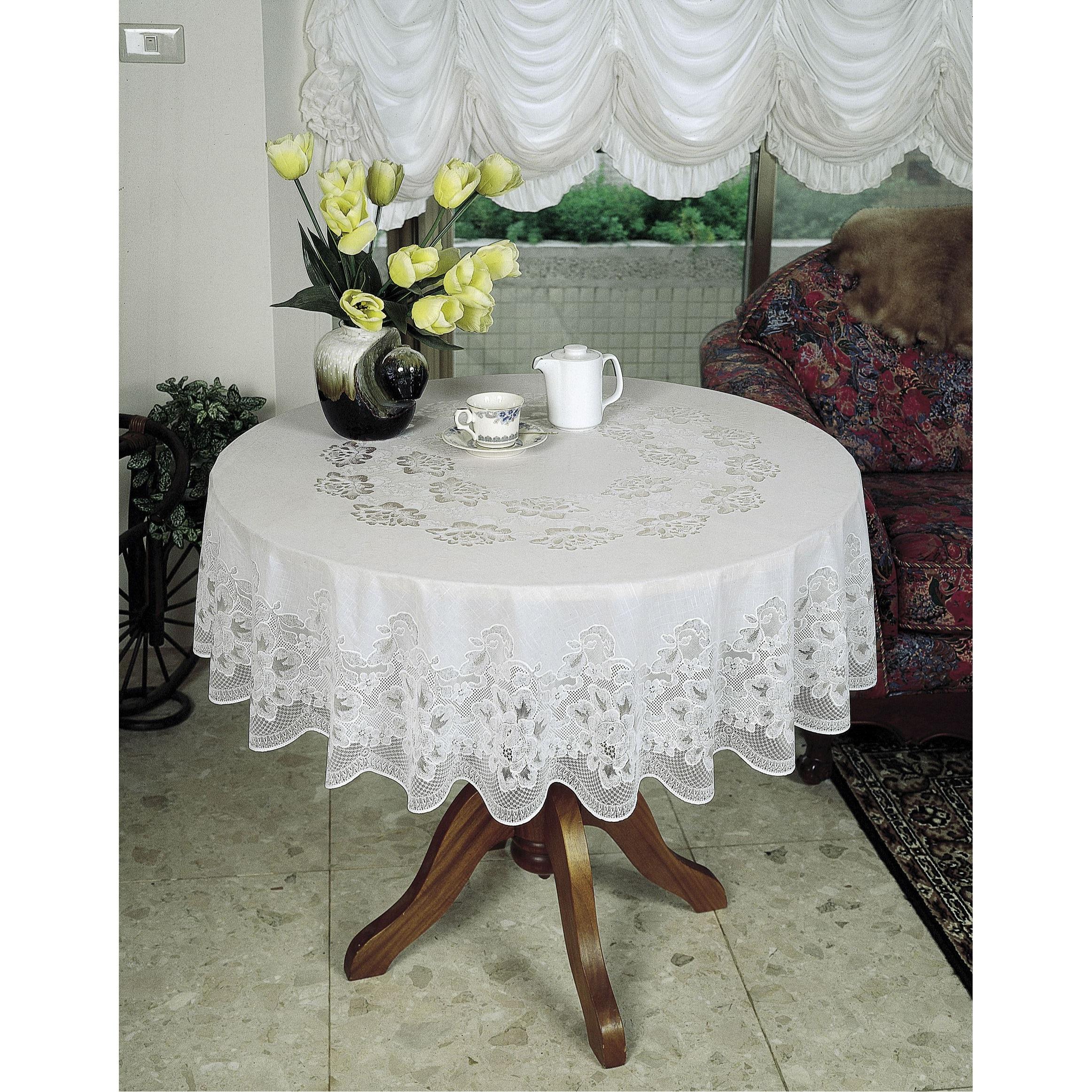 vinyl tischtuch tischdecke mit spitzenmuster rund wasserfest ebay. Black Bedroom Furniture Sets. Home Design Ideas