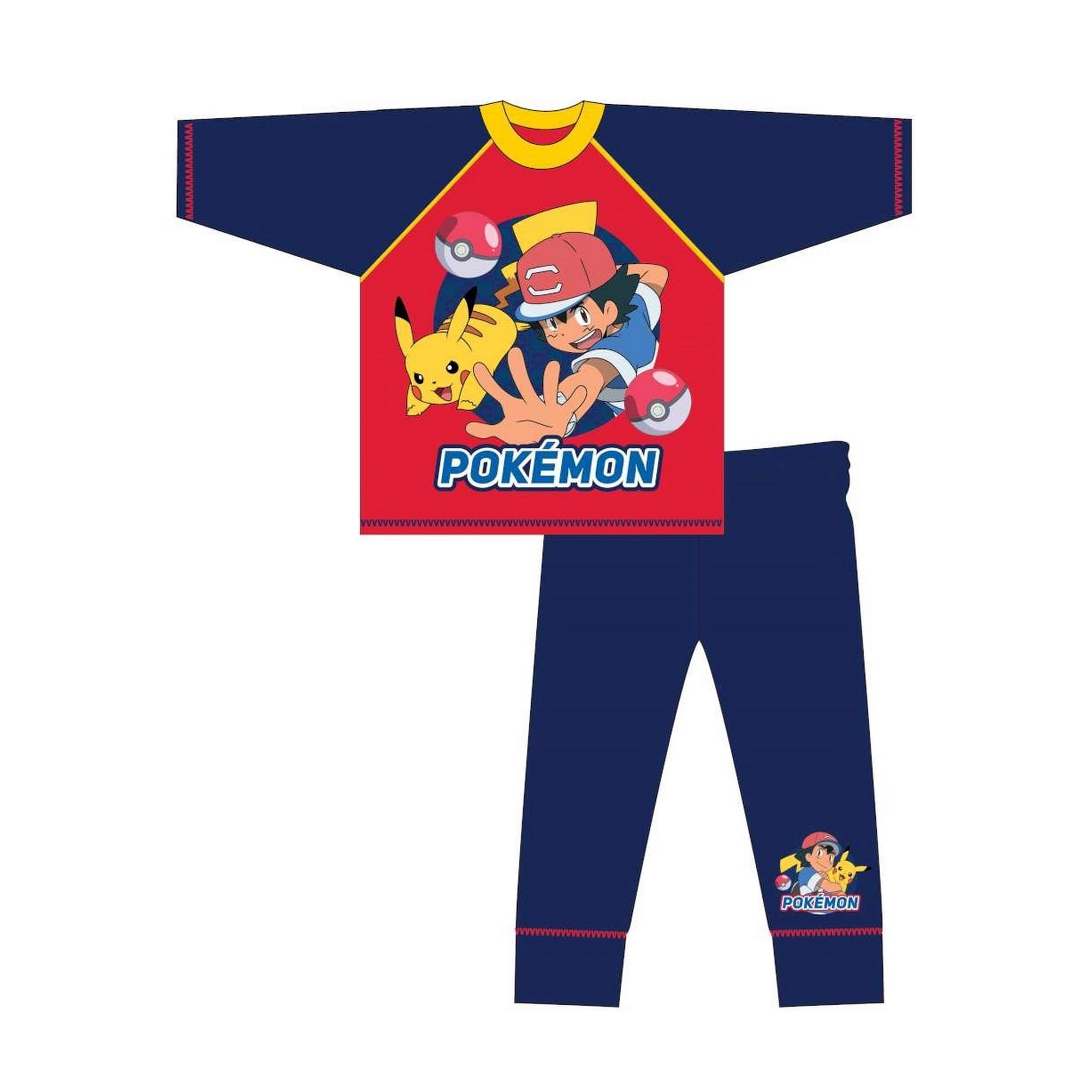Pokemon-Pijama-infantil-de-manga-larga-con-ilustracion-de-Ash-y-Pikachu