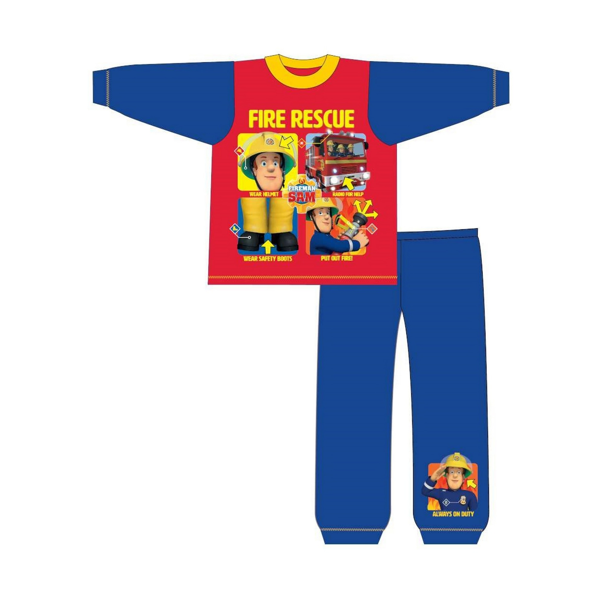 Fireman-Sam-Childrens-Toddlers-Boys-Fire-Rescue-Snuggle-Fit-Long-TF521