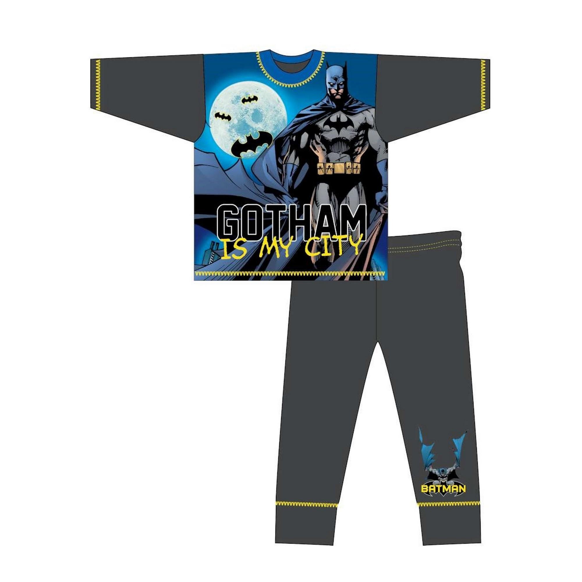 DC-Comics-Pijama-de-manga-larga-infantil-de-Batman-y-texto-Gotham-Is-TF536
