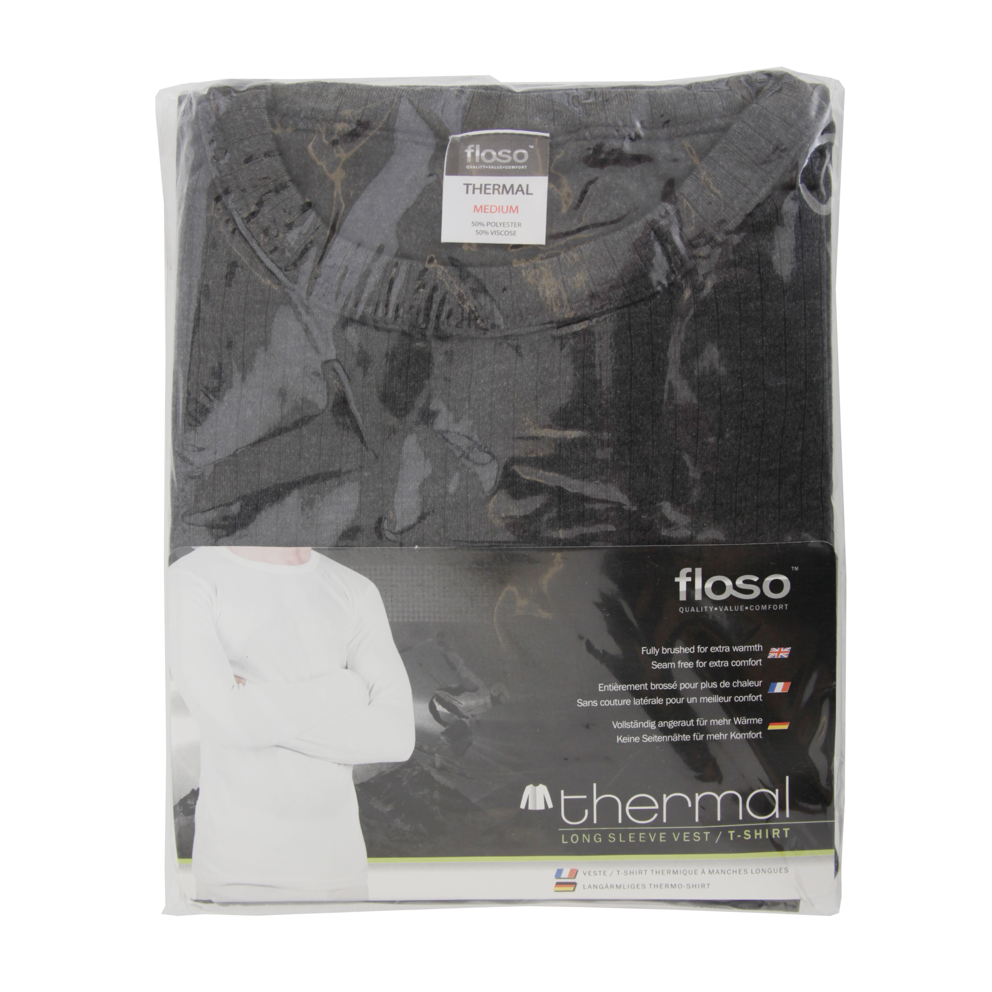 miniature 6 - FLOSO -  T-shirt thermique à manches longues (en viscose) - Homme (THERM107)