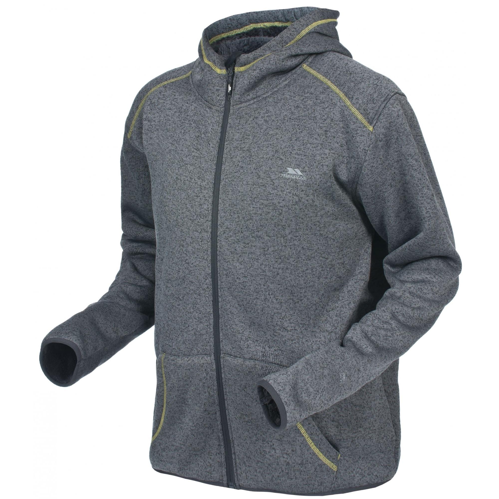 Trespass Mens Dilan Full Zip Hooded Fleece Jacket (XXS) (Flint Marl)