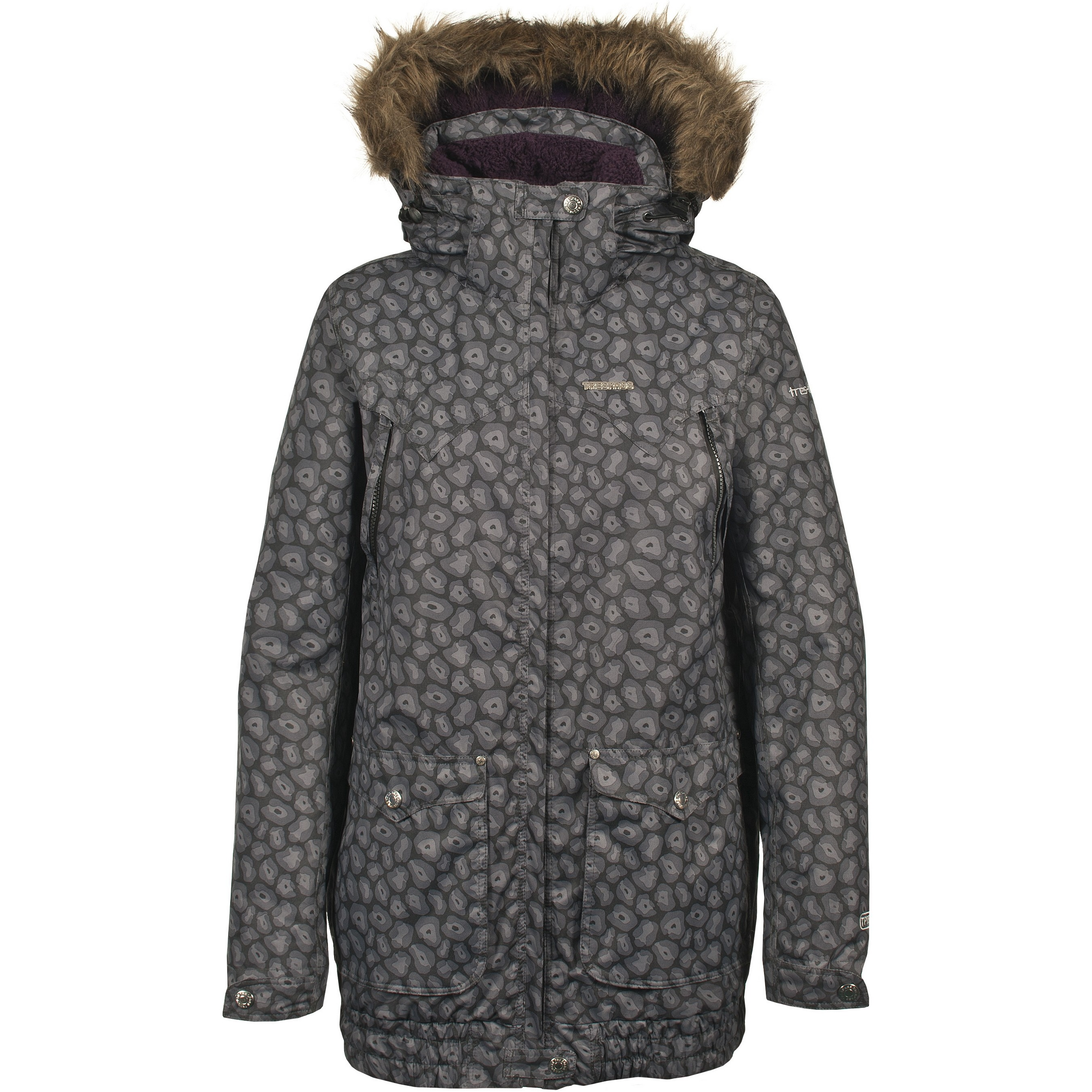 Trespass Womens/Ladies Begin Winter Faux Fur Trim Snow Jacket (XS) (Black Print)