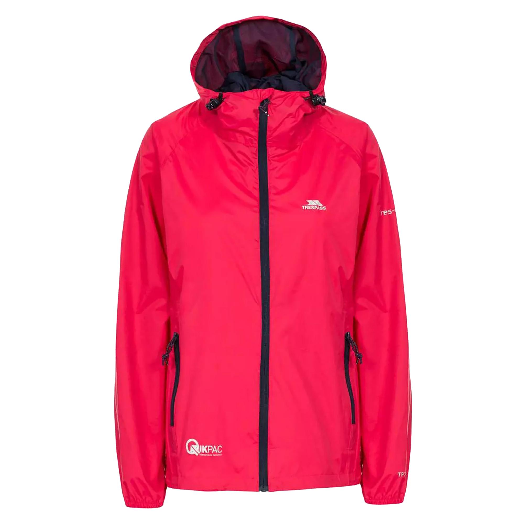 Trespass Womens/Ladies Qikpac Waterproof Packaway Shell Jacket (XXS) (Raspberry)