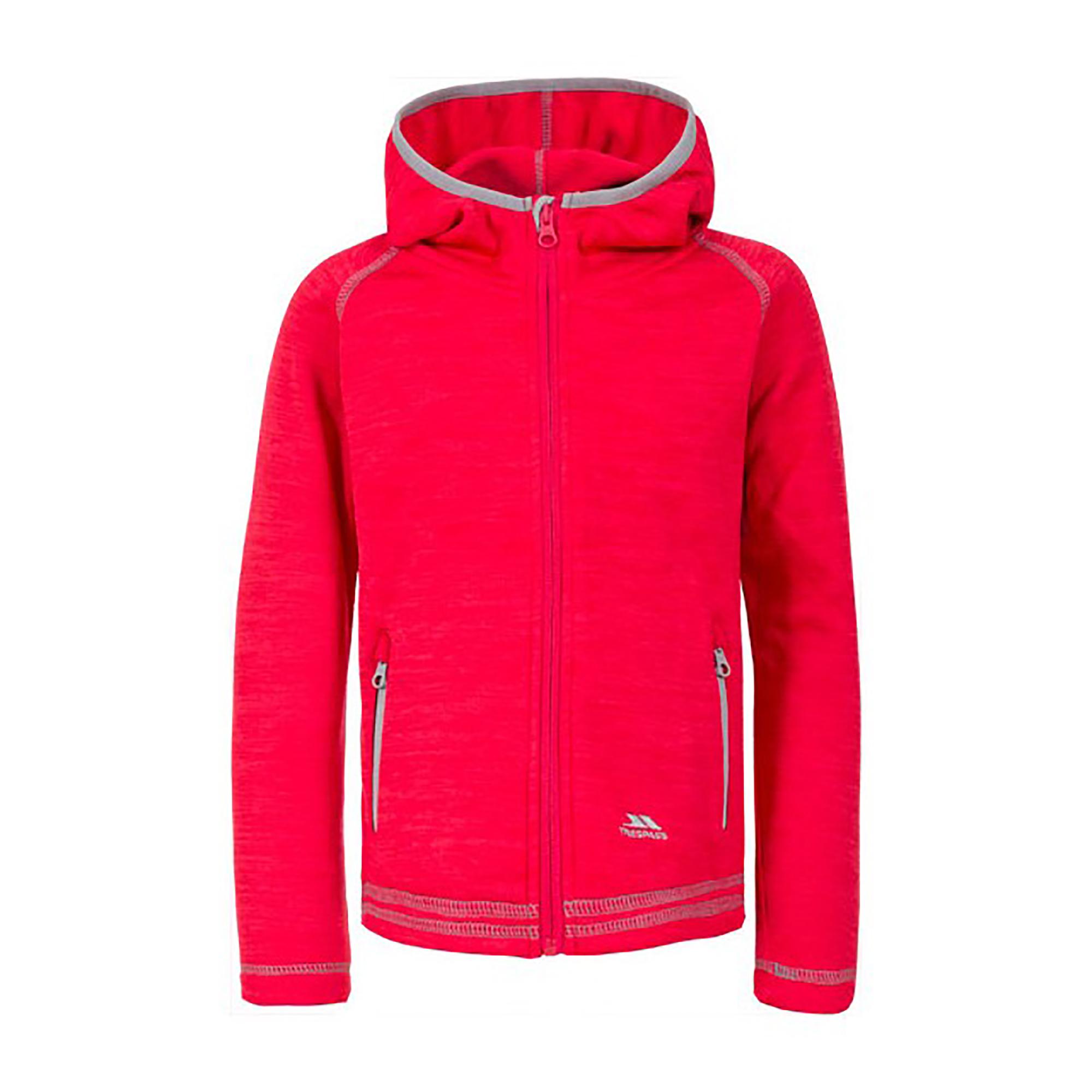 Trespass Childrens Girls Goodness Full Zip Hooded Fleece Jacket (11-12 Years) (Raspberry Marl)