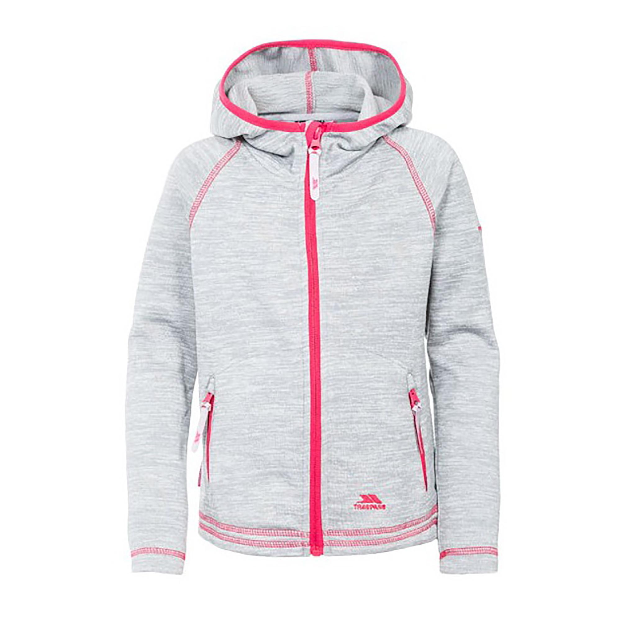 Trespass Childrens Girls Goodness Full Zip Hooded Fleece Jacket (3-4 Years) (Platinum Marl)