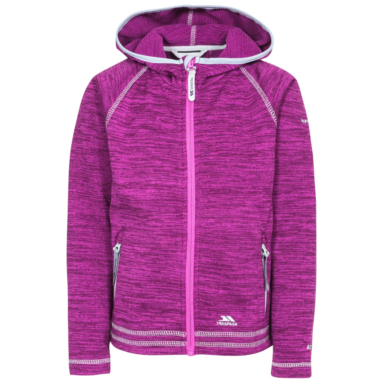 Trespass Childrens Girls Goodness Full Zip Hooded Fleece Jacket (3-4 Years) (Purple Orchid Marl)
