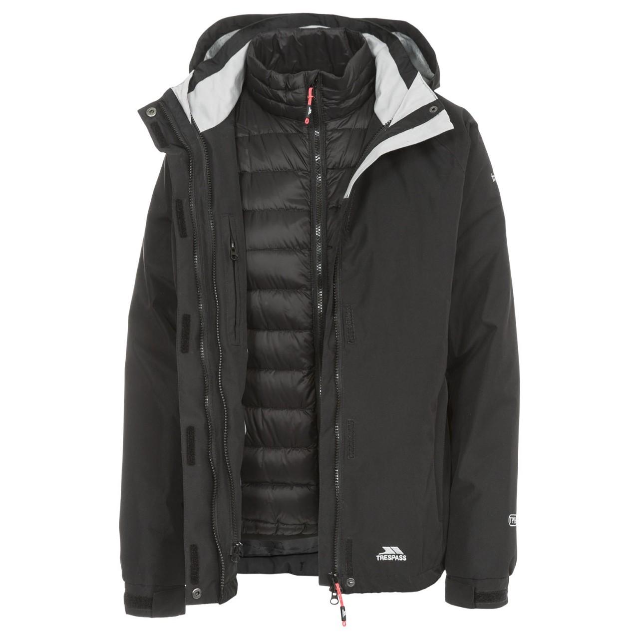 Trespass Womens/Ladies Trailwind Waterproof 3-In-1 Jacket (XS) (Black)