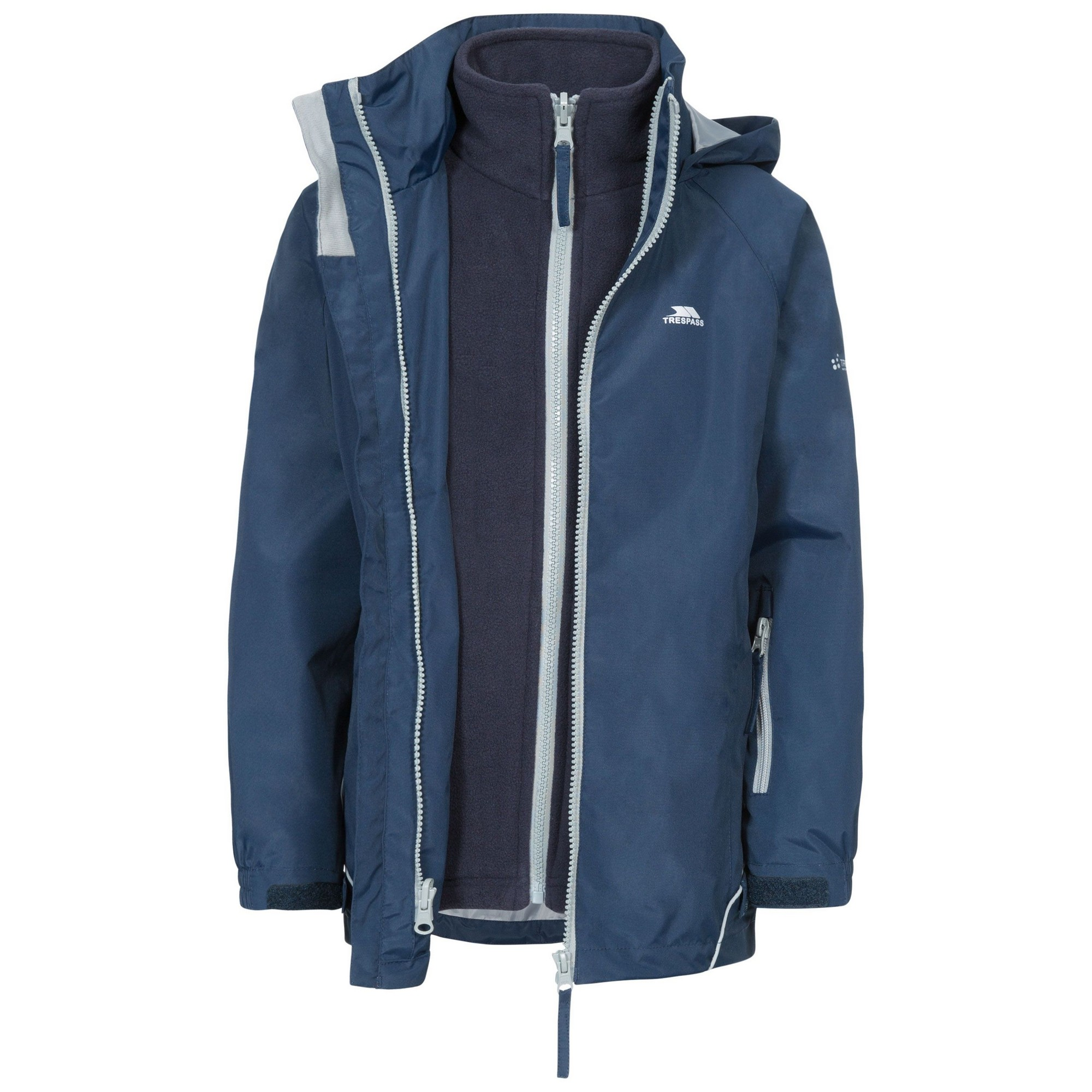 Trespass Childrens/Kids Rockcliff Waterproof 3-In-1 Jacket (7-8 Years) (Navy)